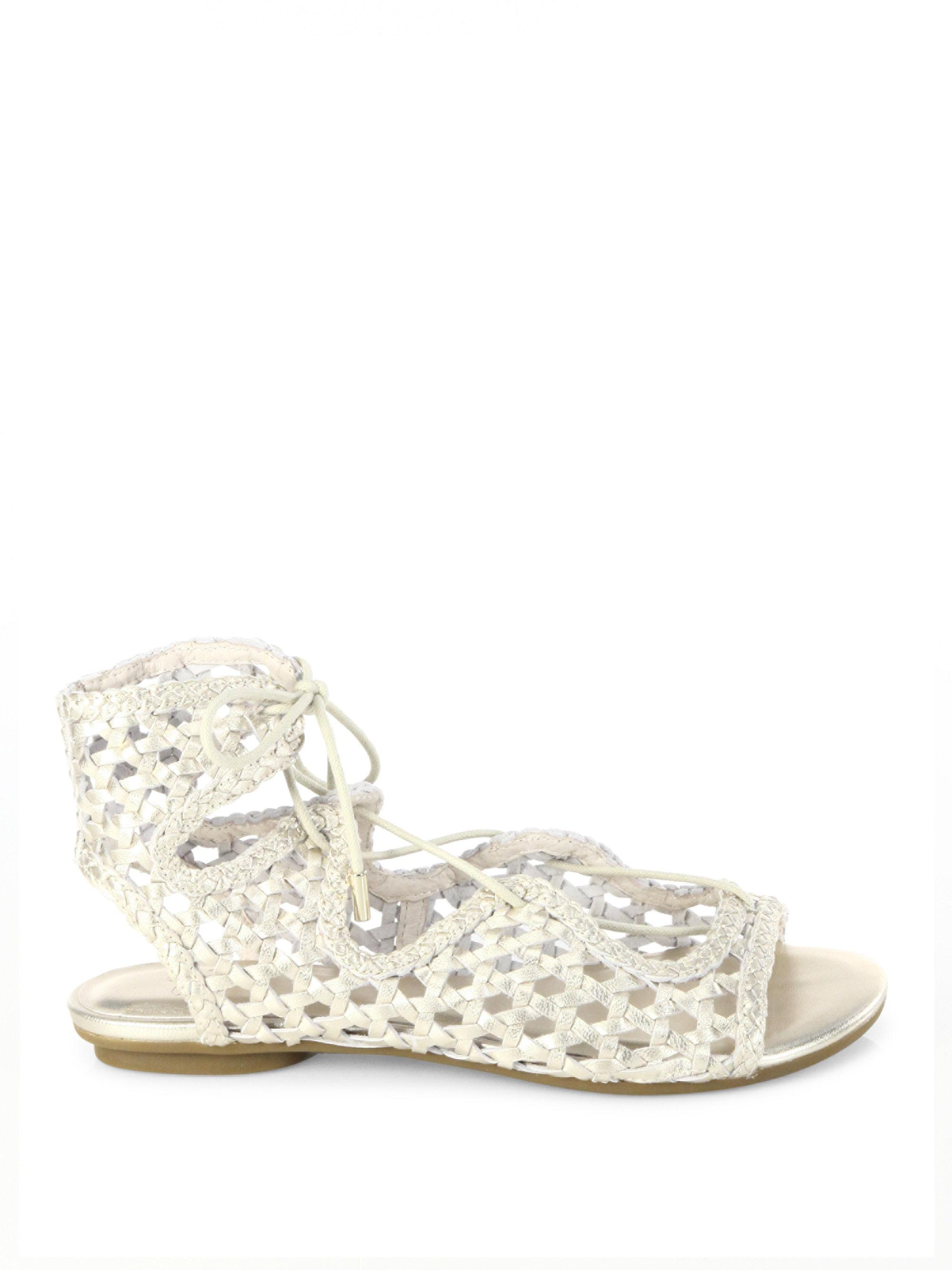 Joie - Fannie Woven Metallic Leather Lace-up Sandals - Lyst. View fullscreen