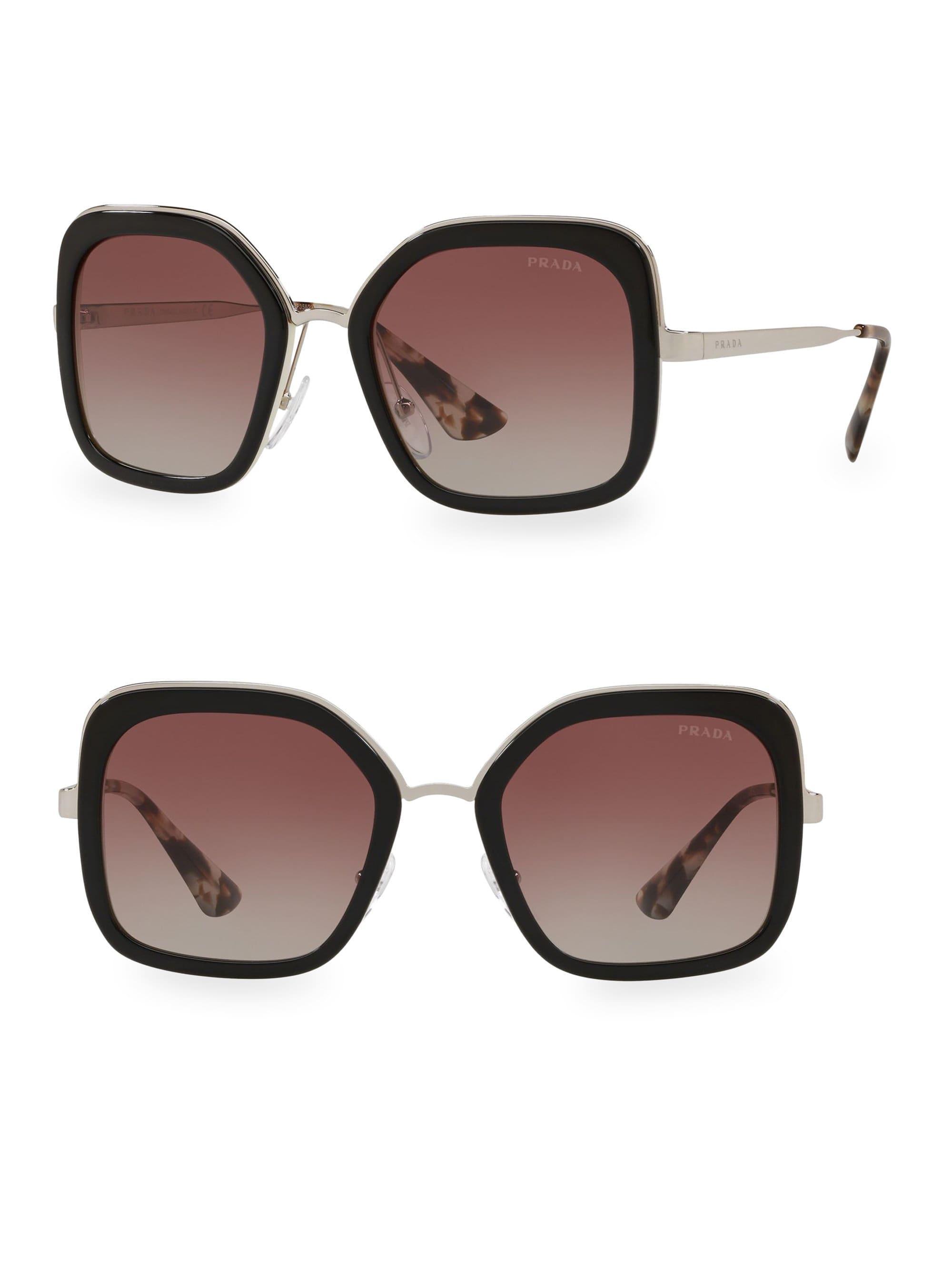 b4a5b4cbbc2a8 Prada - Women s Square 54mm Gradient Lens Sunglasses - Black - Lyst. View  fullscreen