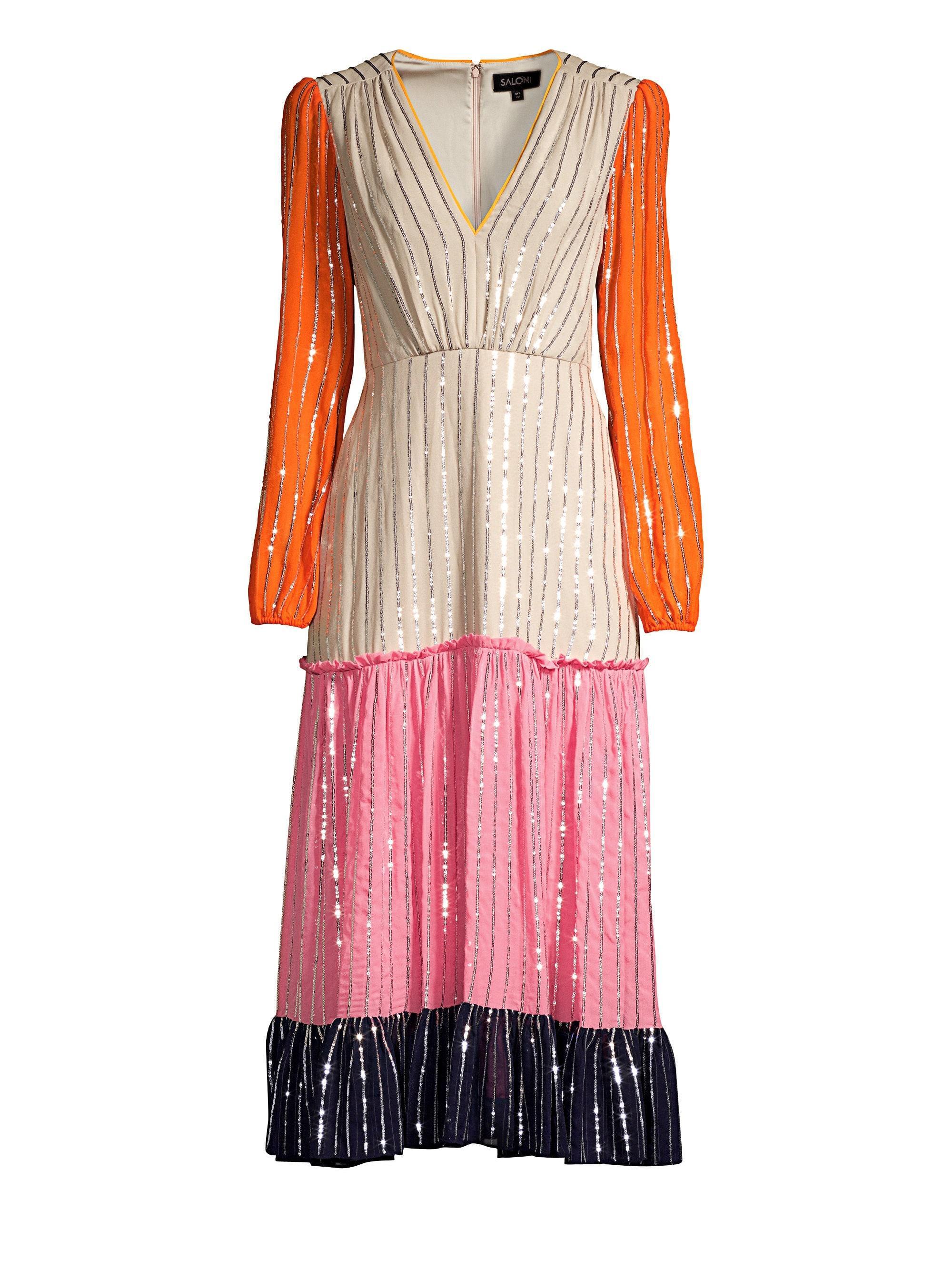 aecc8897 Saloni Women's Devon Colorblock Silk Sequin Dress - Colorblock ...