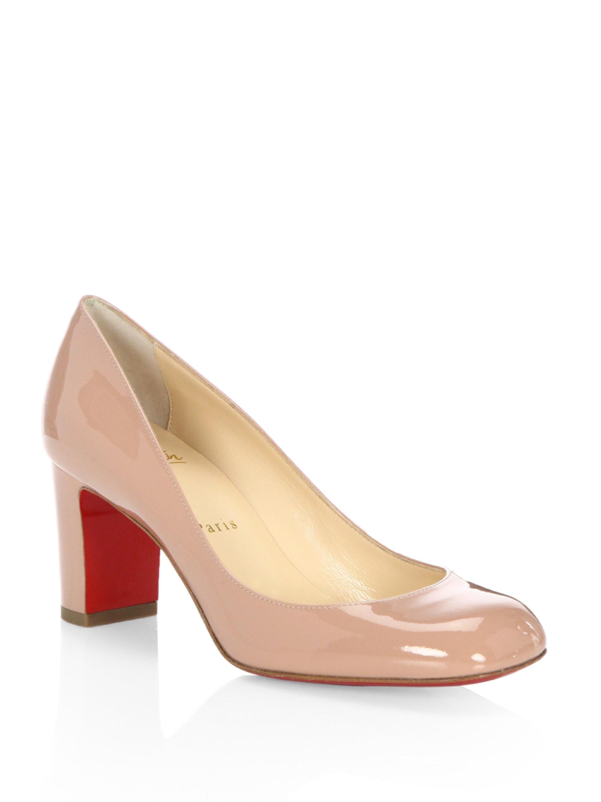 new product cee3b 20ae2 Christian Louboutin Natural Cadrilla 70 Patent Leather Block Heel Pumps