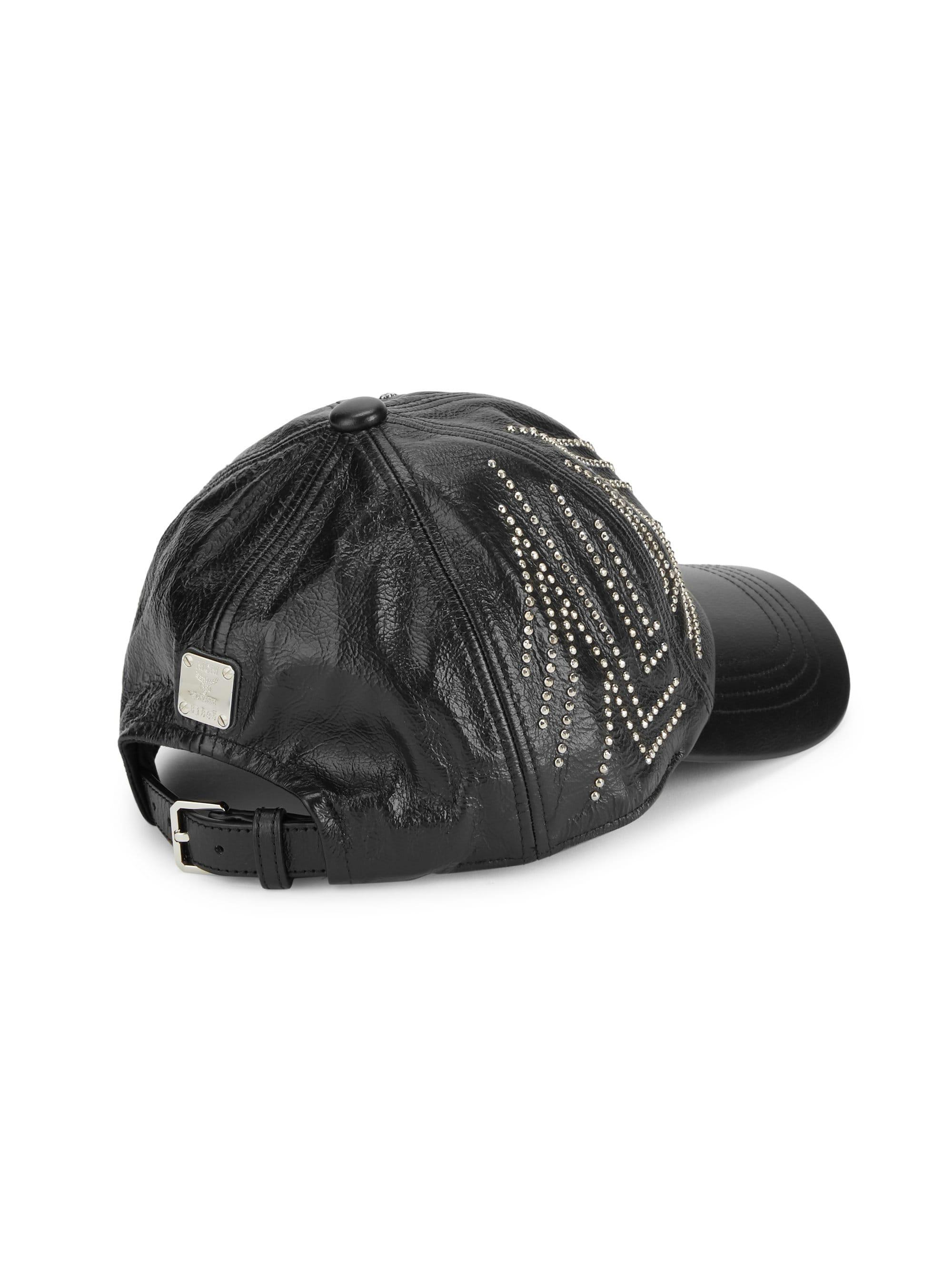67a18bcac82 MCM - Black Gunta Stud Leather Baseball Cap for Men - Lyst. View fullscreen
