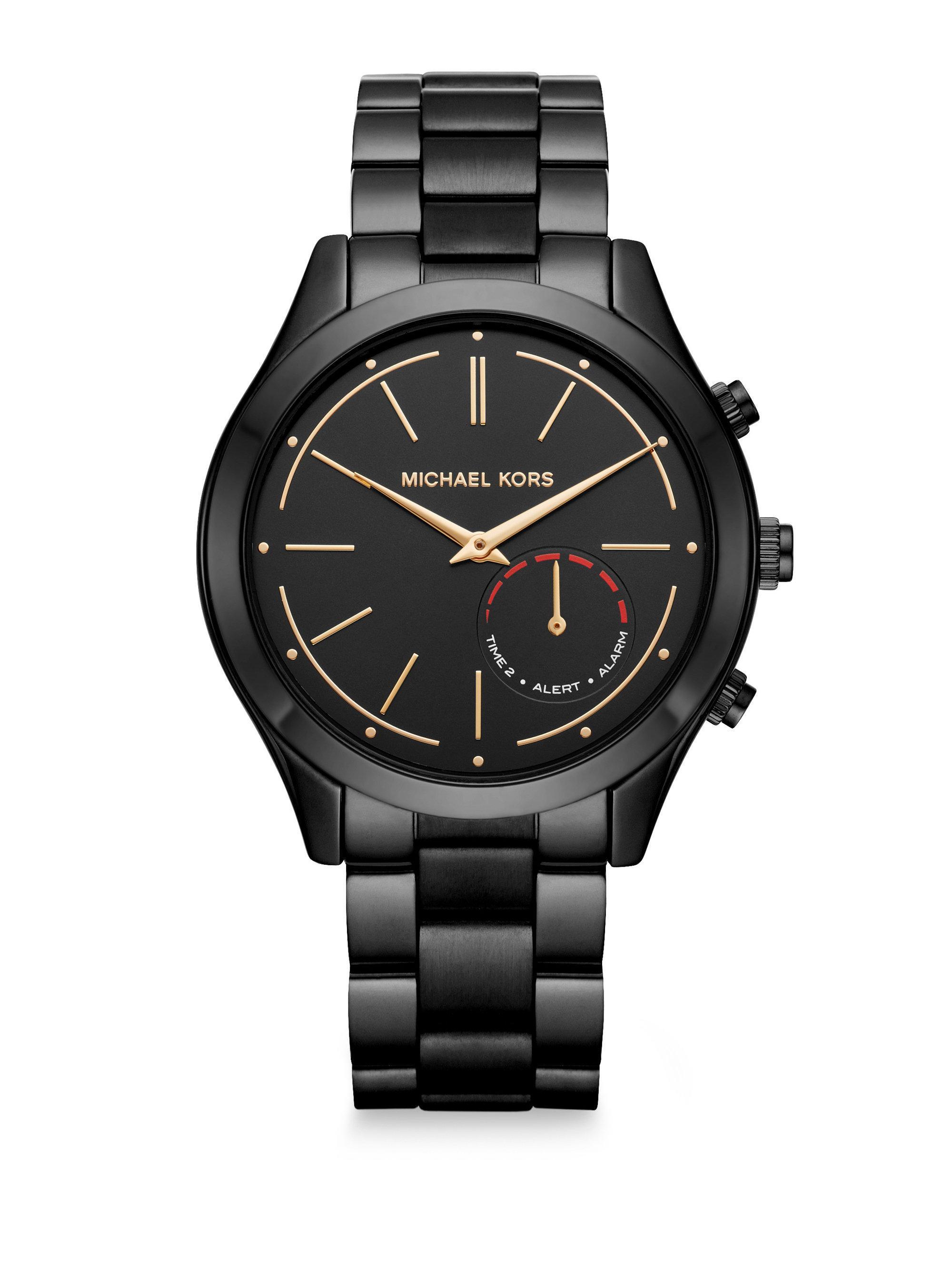 lyst michael kors access slim runway black ip stainless steel hybrid smartwatch in black for men. Black Bedroom Furniture Sets. Home Design Ideas