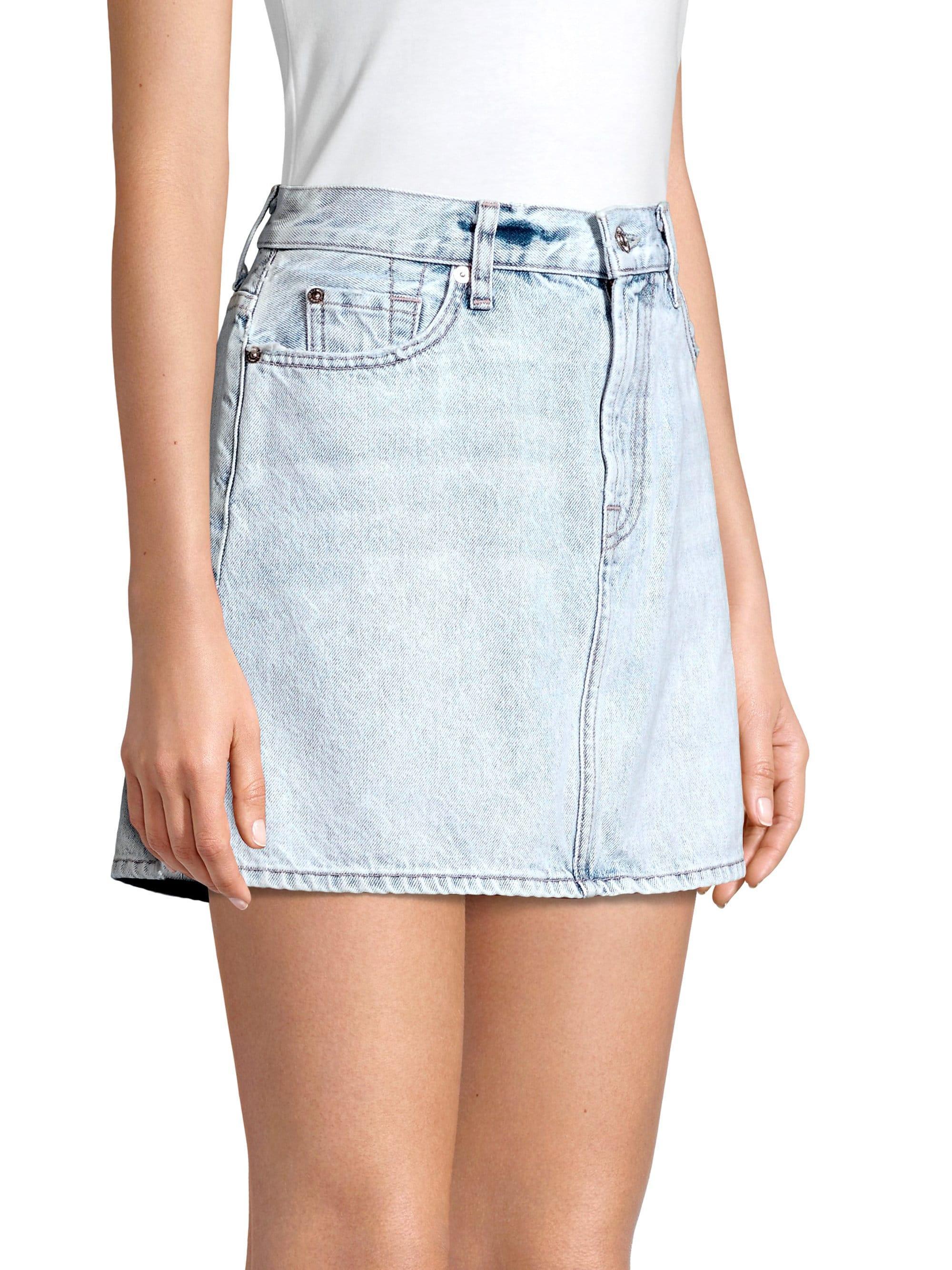 91ecc95cda2c5 Lyst - 7 For All Mankind Acid Wash Denim Mini Skirt in Blue