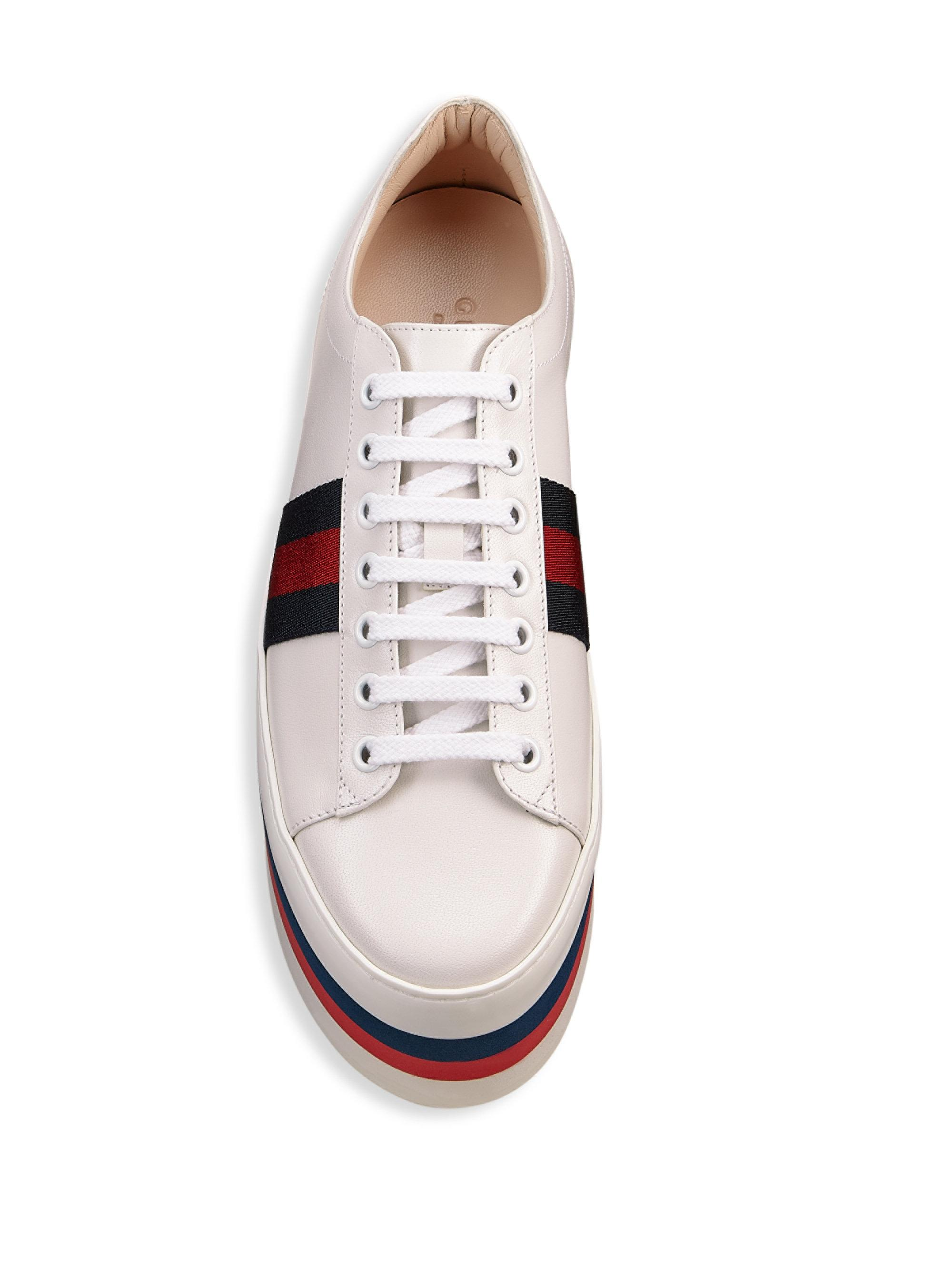 402f452007a Lyst - Gucci Peggy Leather Rainbow Platform Sneakers in White