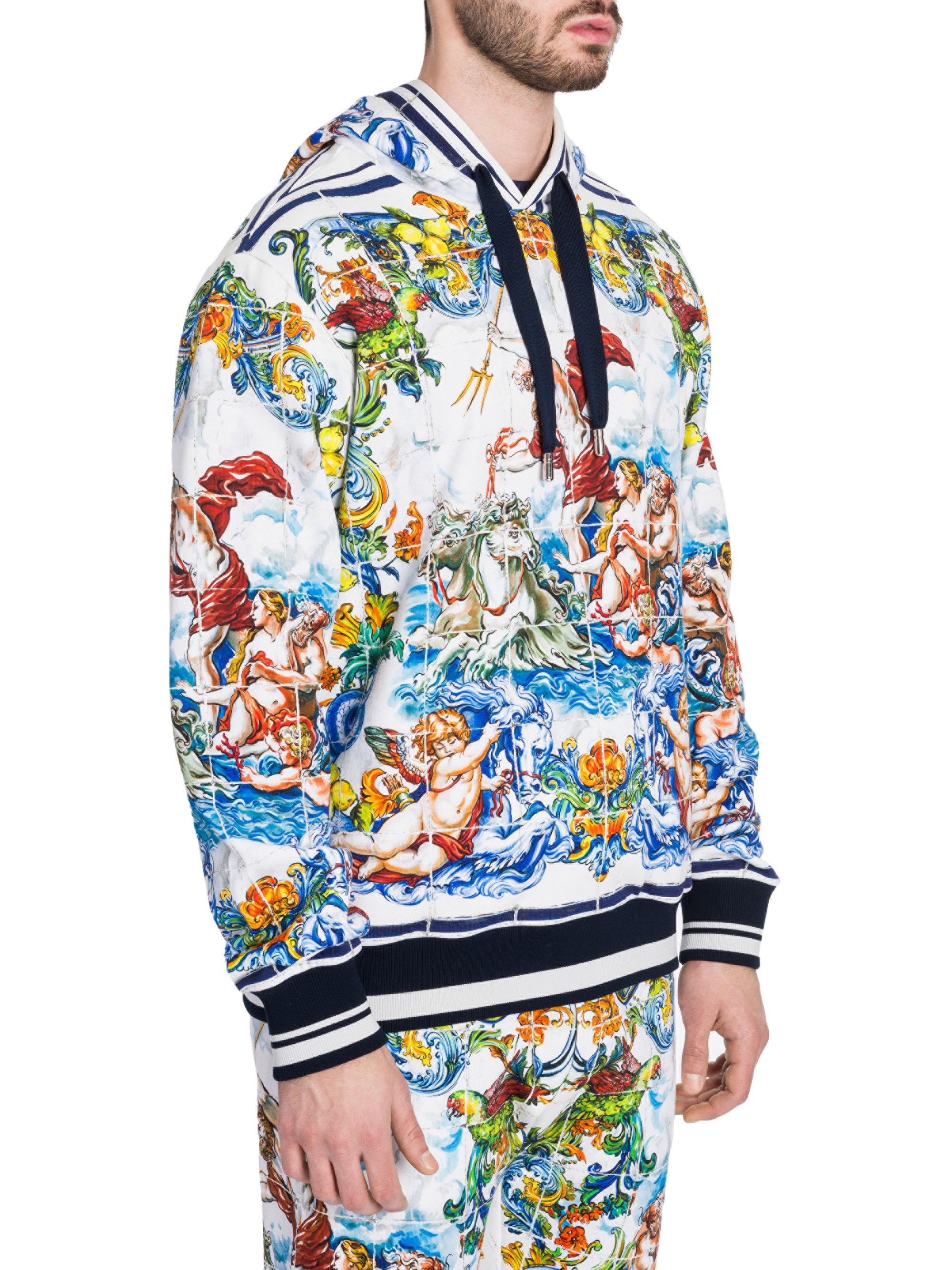 Dolce /& Gabbana Cotton hoodie with majolicas print