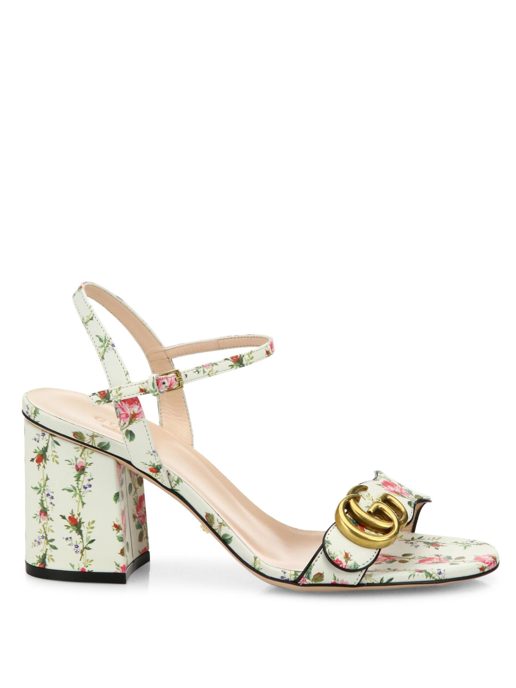 4a338ed91a3 Lyst - Gucci Floral-print Leather Sandals in White