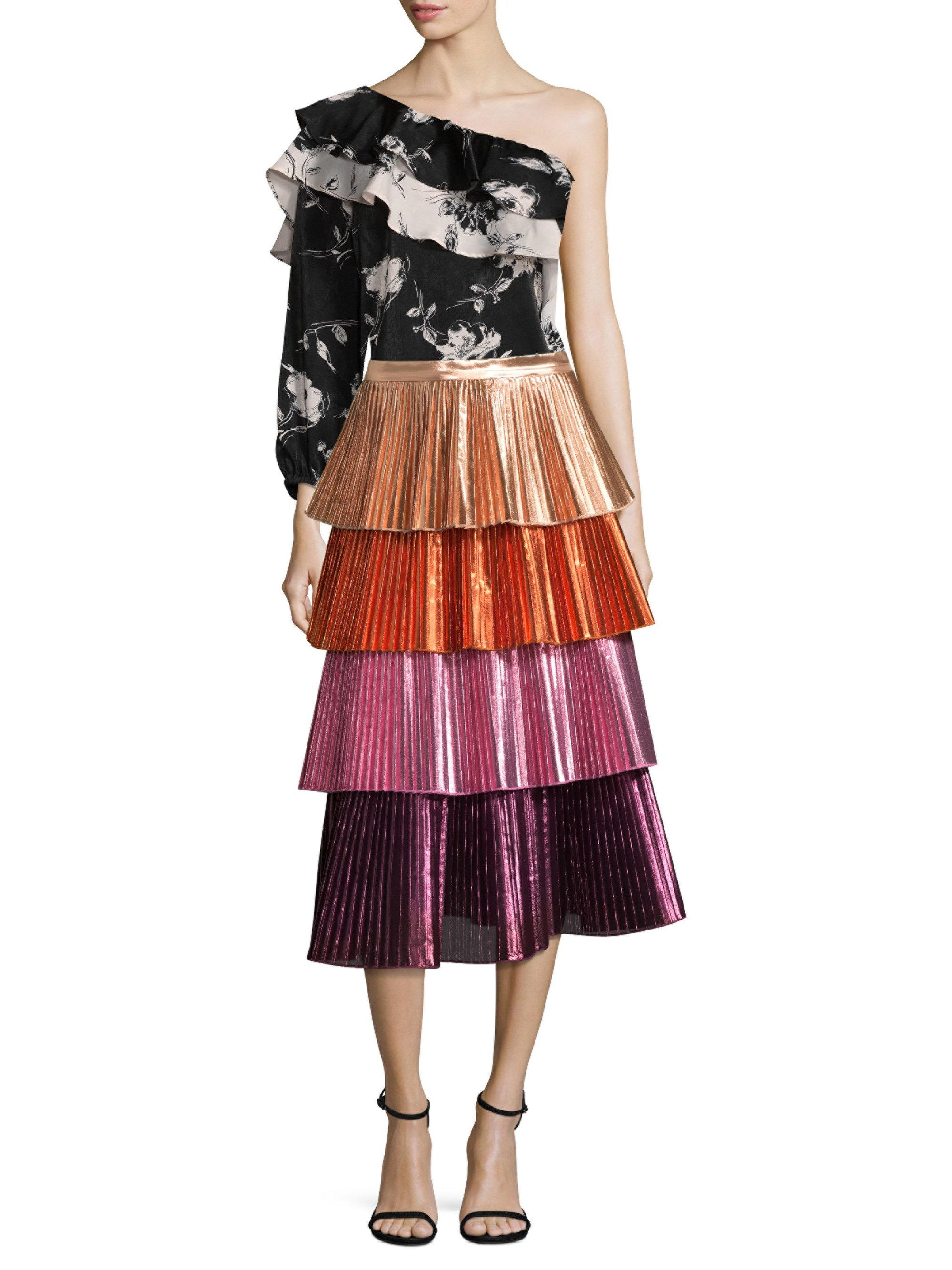 c4867eadd DELFI Collective Tiered Pleated Skirt in Pink - Lyst