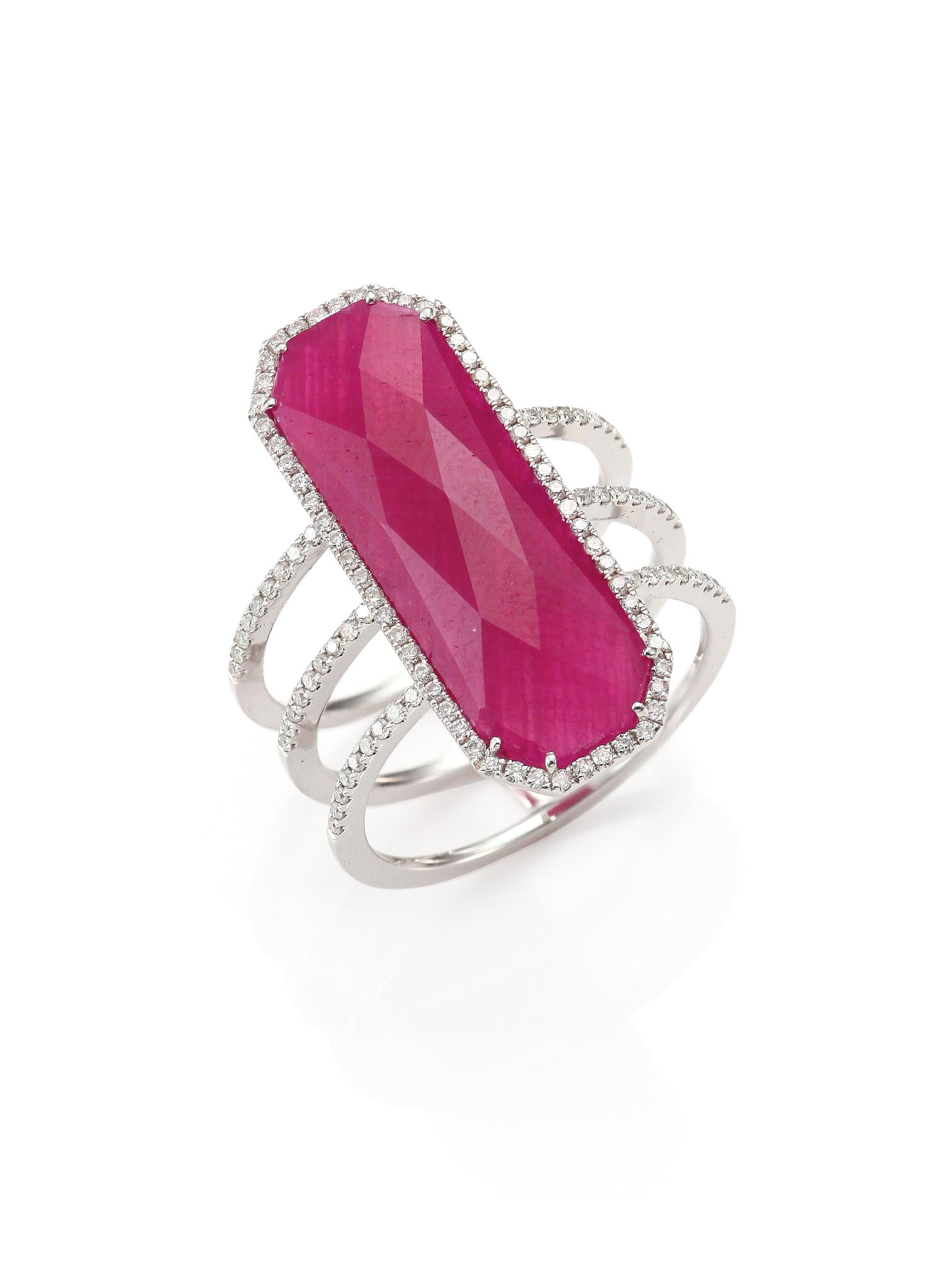Lyst - Meira T Ruby, Pave Diamond, 14k White Gold & Silver Ring in Pink
