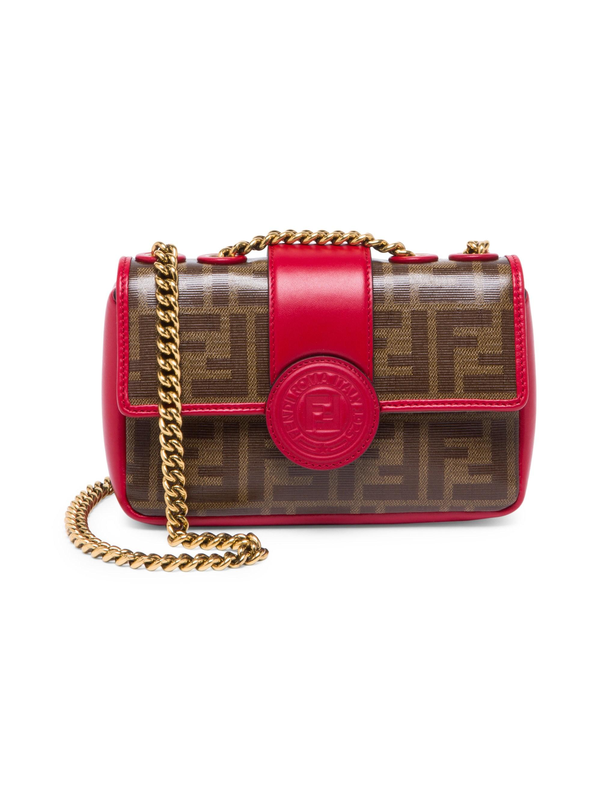 0493546e Fendi Women's Mini Double F Shoulder Bag - Black in Red - Lyst