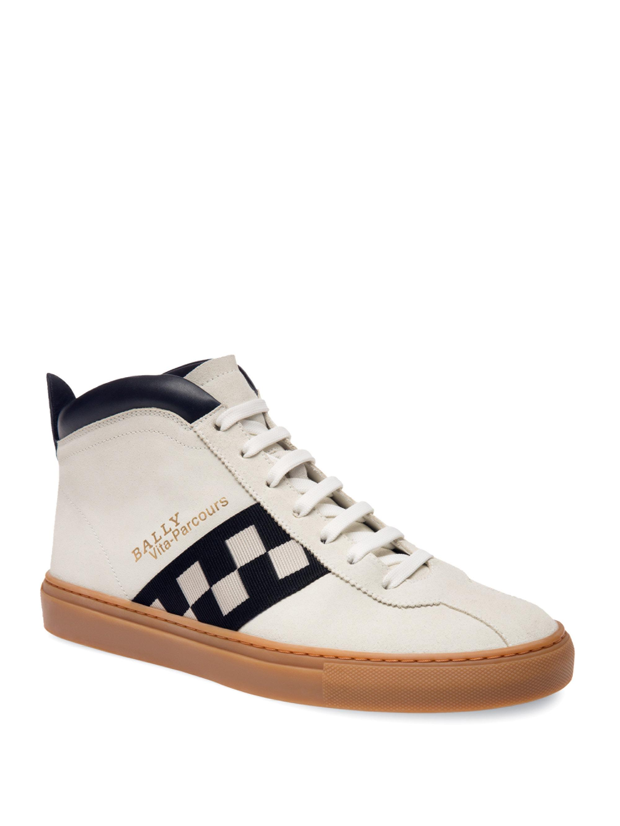 BallyVita-Parcours Retro Leather High-Top Sneakers