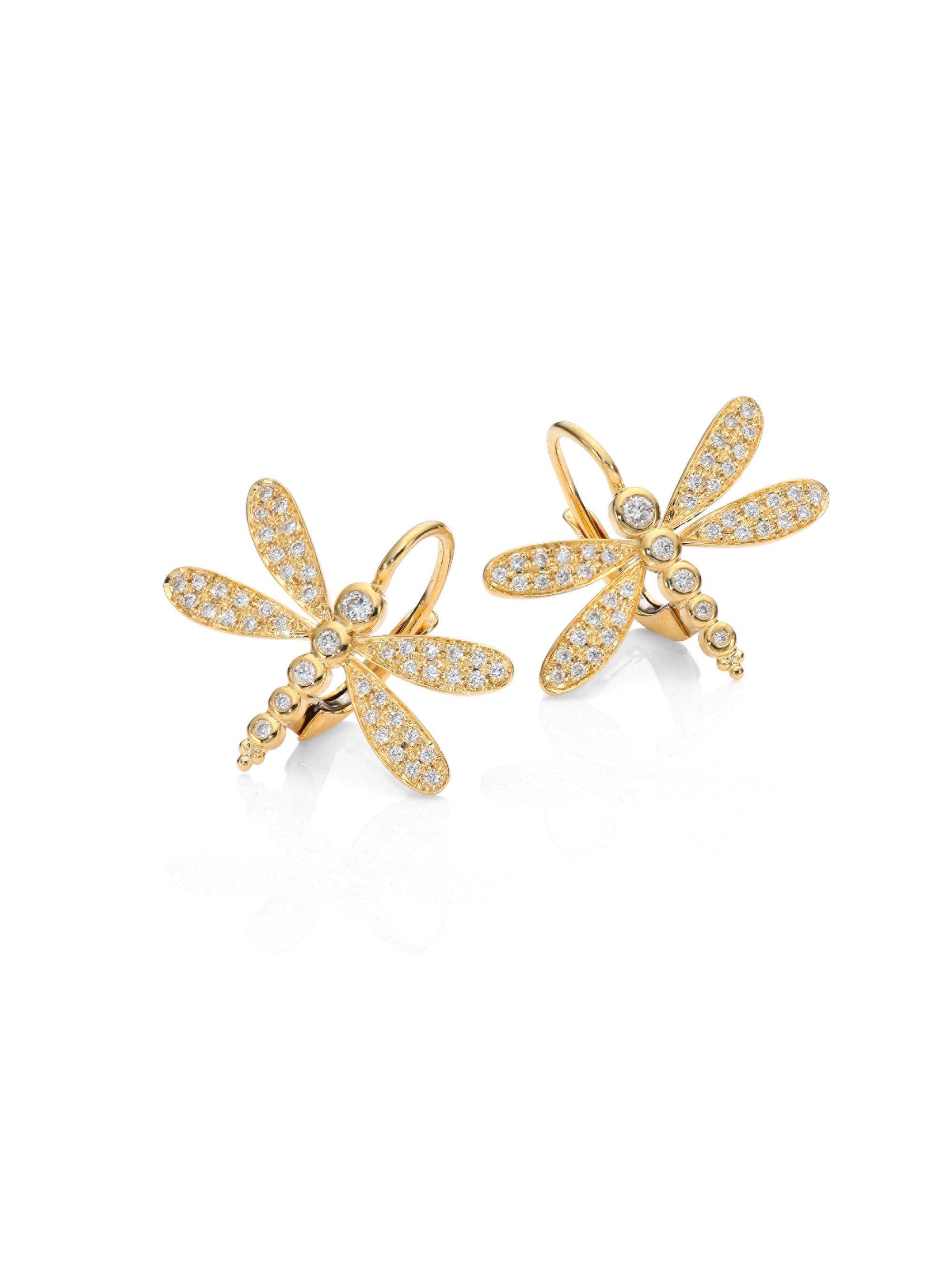 Temple St Clair Women S Metallic Dragonfly Pavé Diamond 18k Yellow Gold Earrings