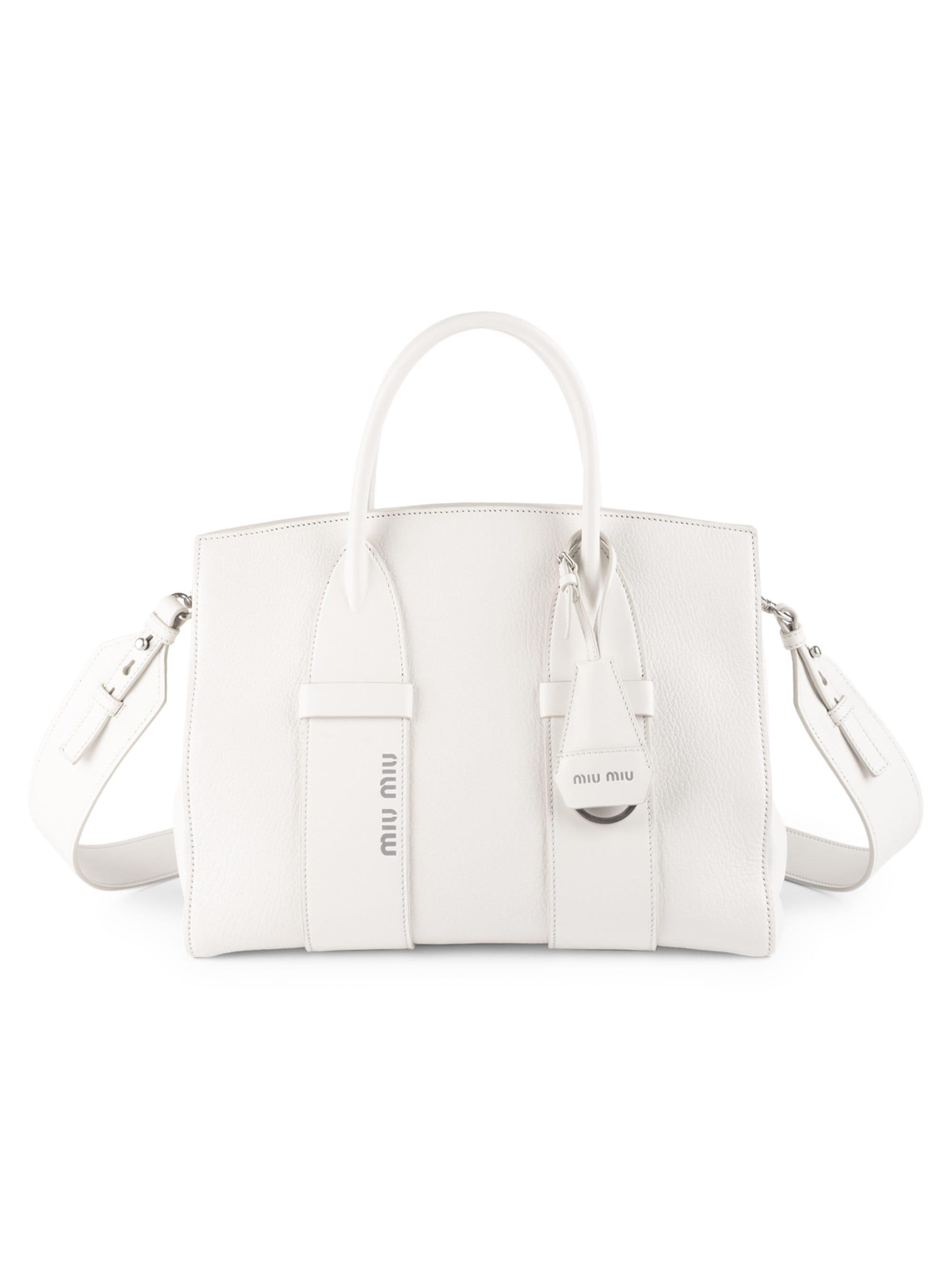 2f39c8657960 Lyst - Miu Miu Women s Small Madras Leather Satchel - White in White