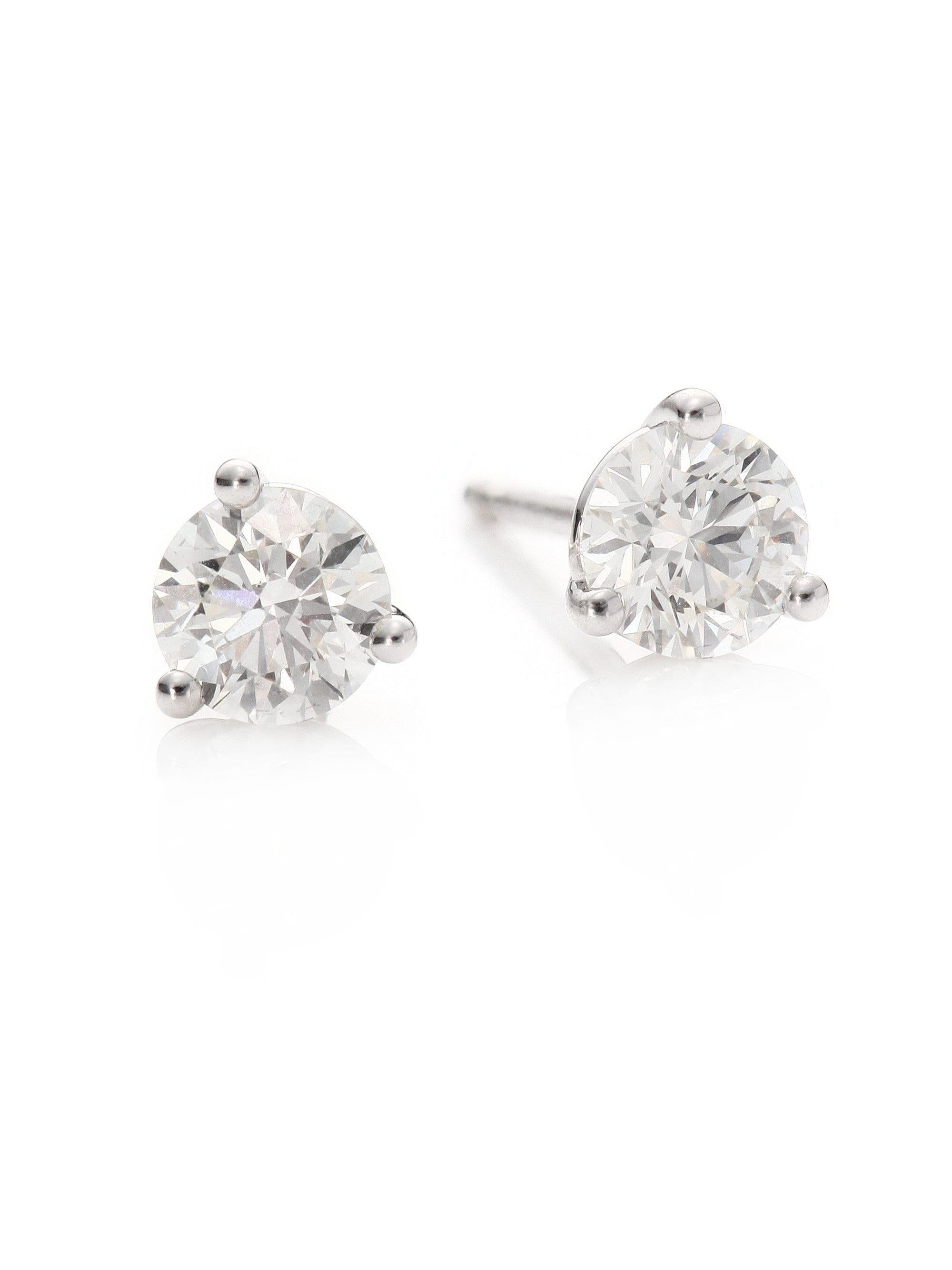 abd8e7eb0 Hearts On Fire Diamond & 18k White Gold Three-prong Stud Earrings in ...