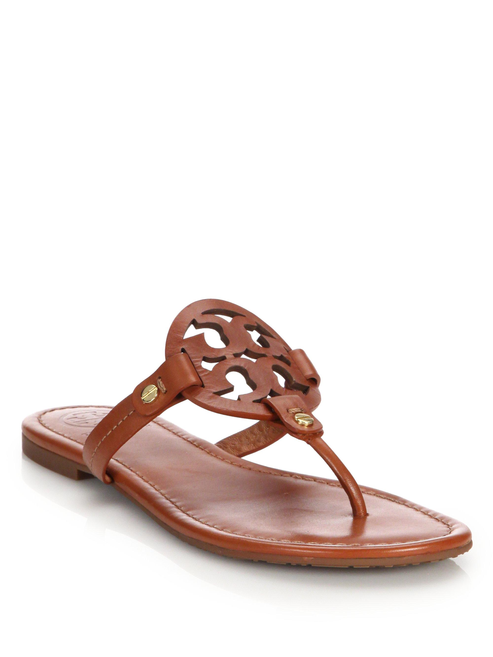 4143d34ee929 Lyst - Tory Burch Miller Leather Logo Thong Sandals in Brown - Save 20%