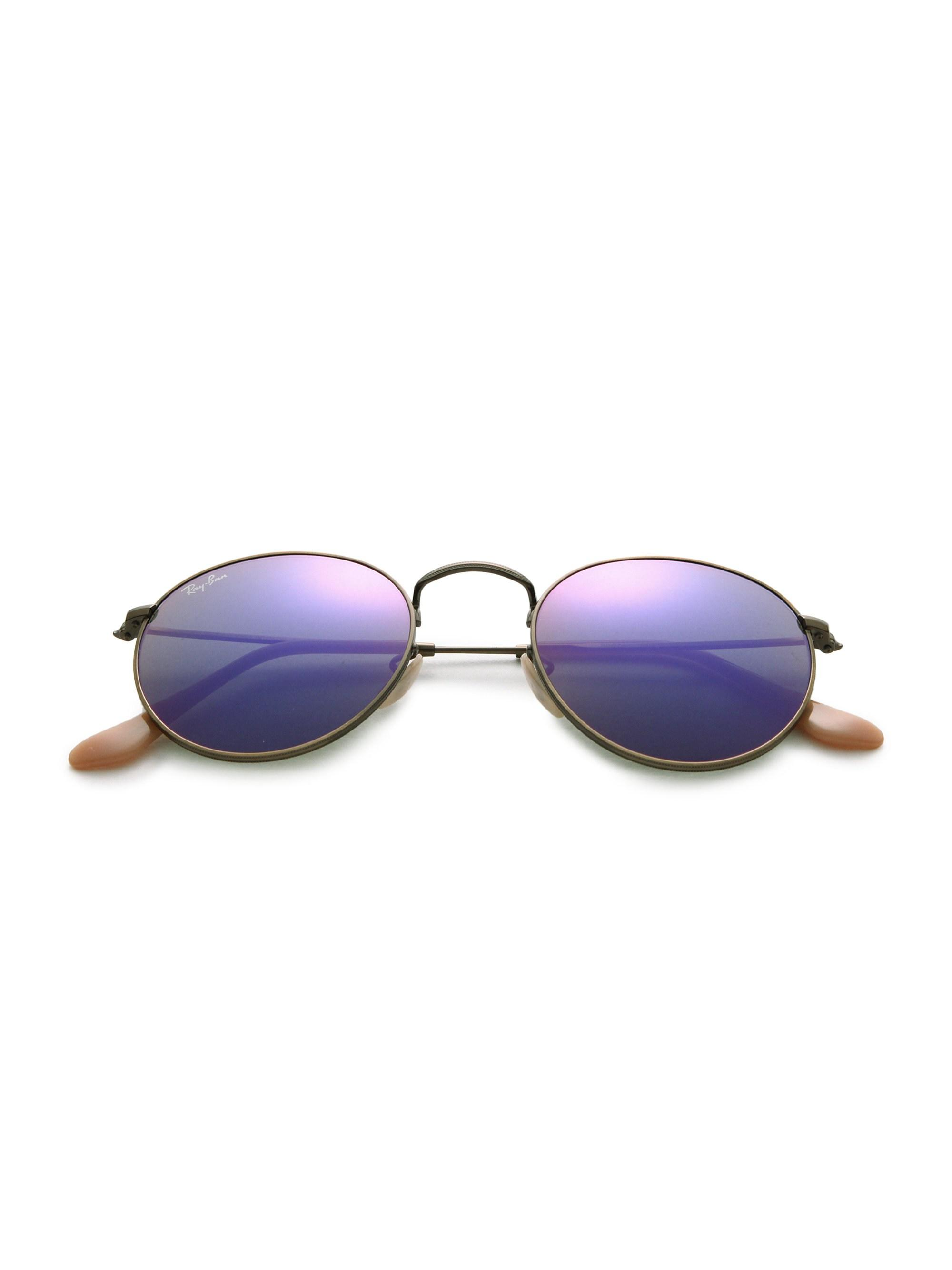 ced6b34466 Ray-Ban 50mm Legends Round Metal Sunglasses in Purple - Lyst