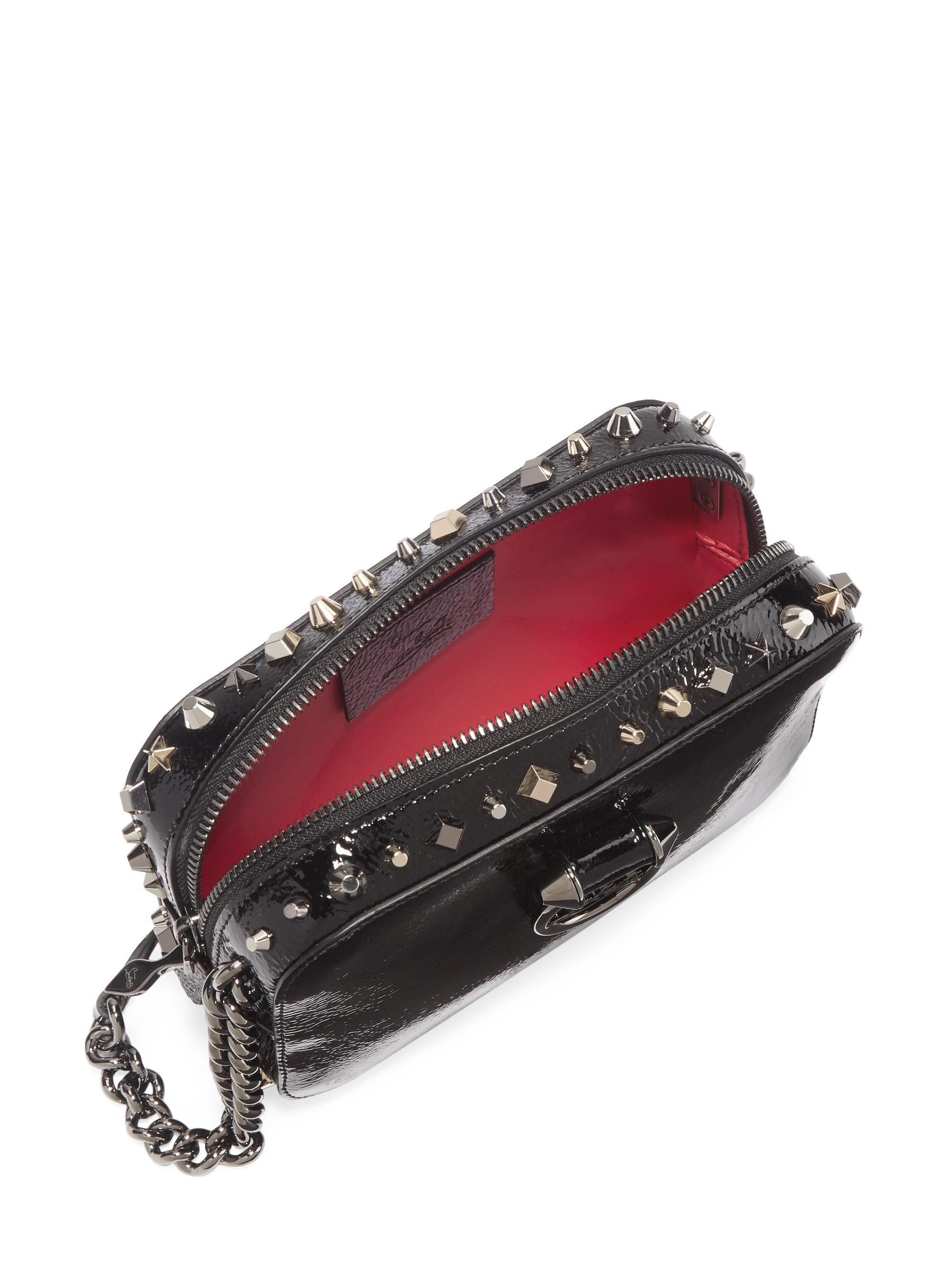 3a2a5bfee3f Christian Louboutin Black Rubylou Vintage Trashmix Patent Leather Mini  Crossbody Bag