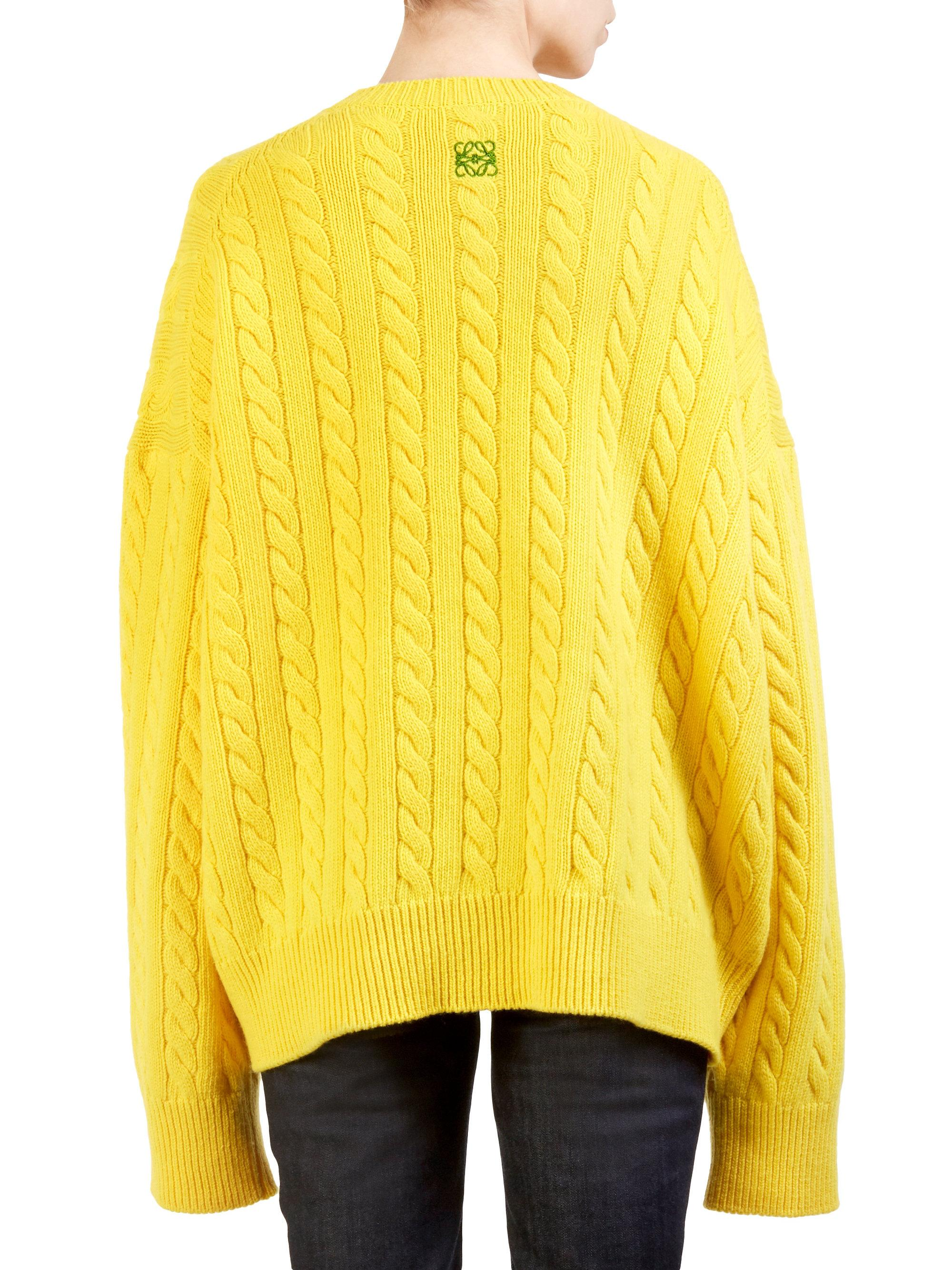61223d0131 Loewe Cableknit Wool Sweater in Yellow - Lyst