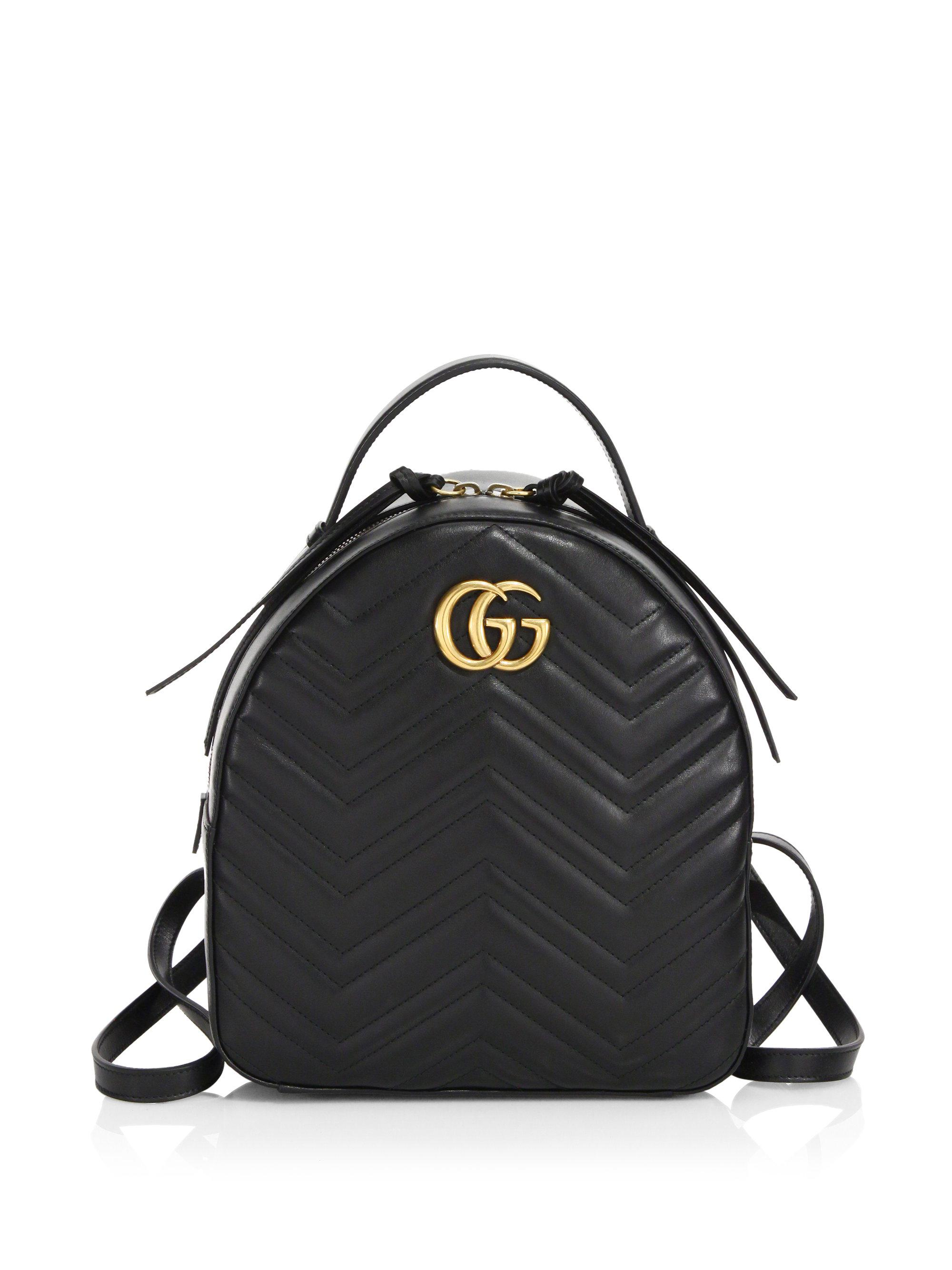 1743cf8d6b94 Gucci GG Marmont Chevron Quilted Leather Mini Backpack in Black - Lyst