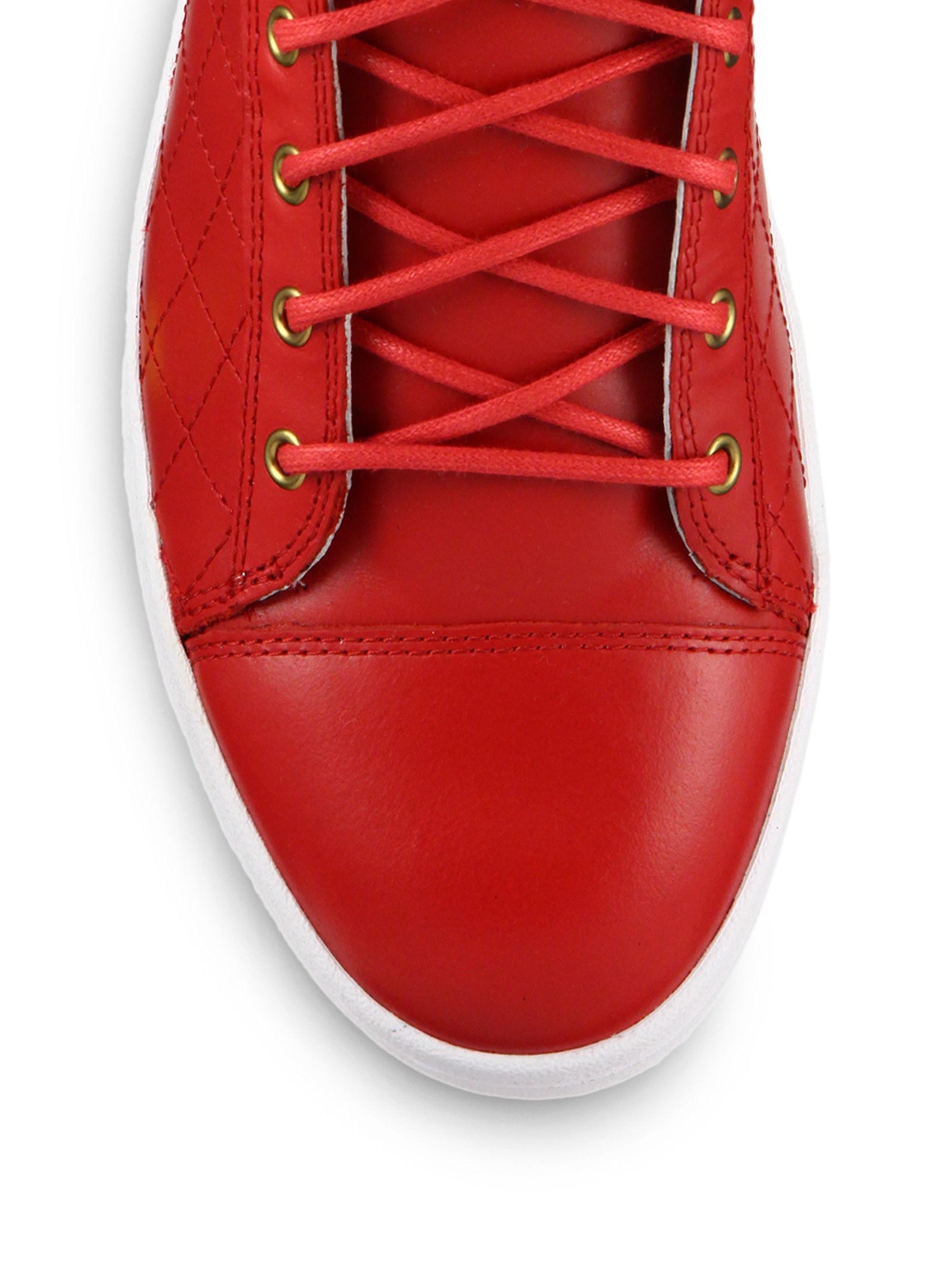 38c4170944 Lyst - DIESEL Tempus Diamond Leather High-top Sneakers in Red for Men