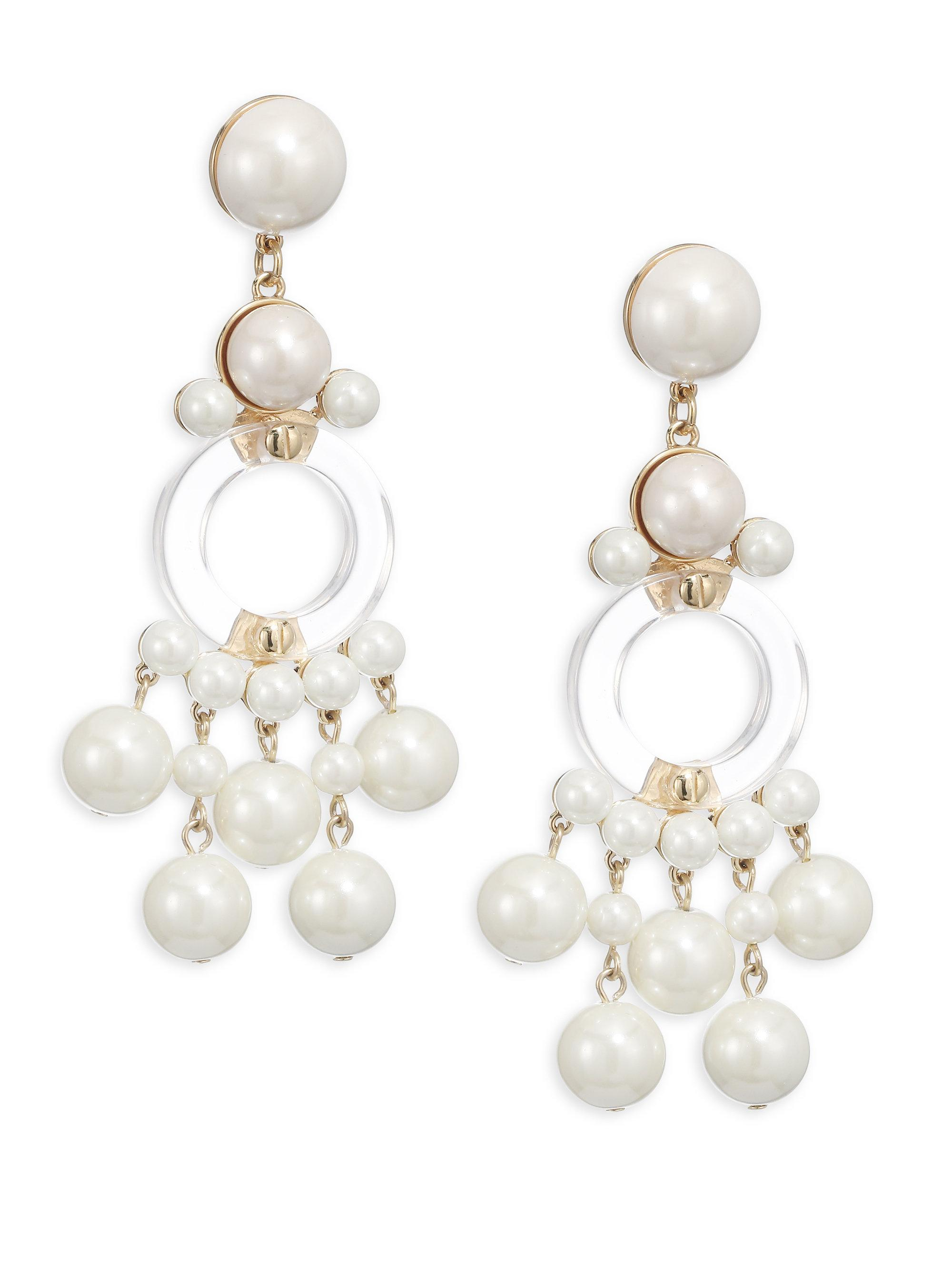 Lele sadoughi boulevard faux pearl clip on chandelier earrings lyst lele sadoughi womens boulevard faux pearl clip on chandelier earrings arubaitofo Image collections