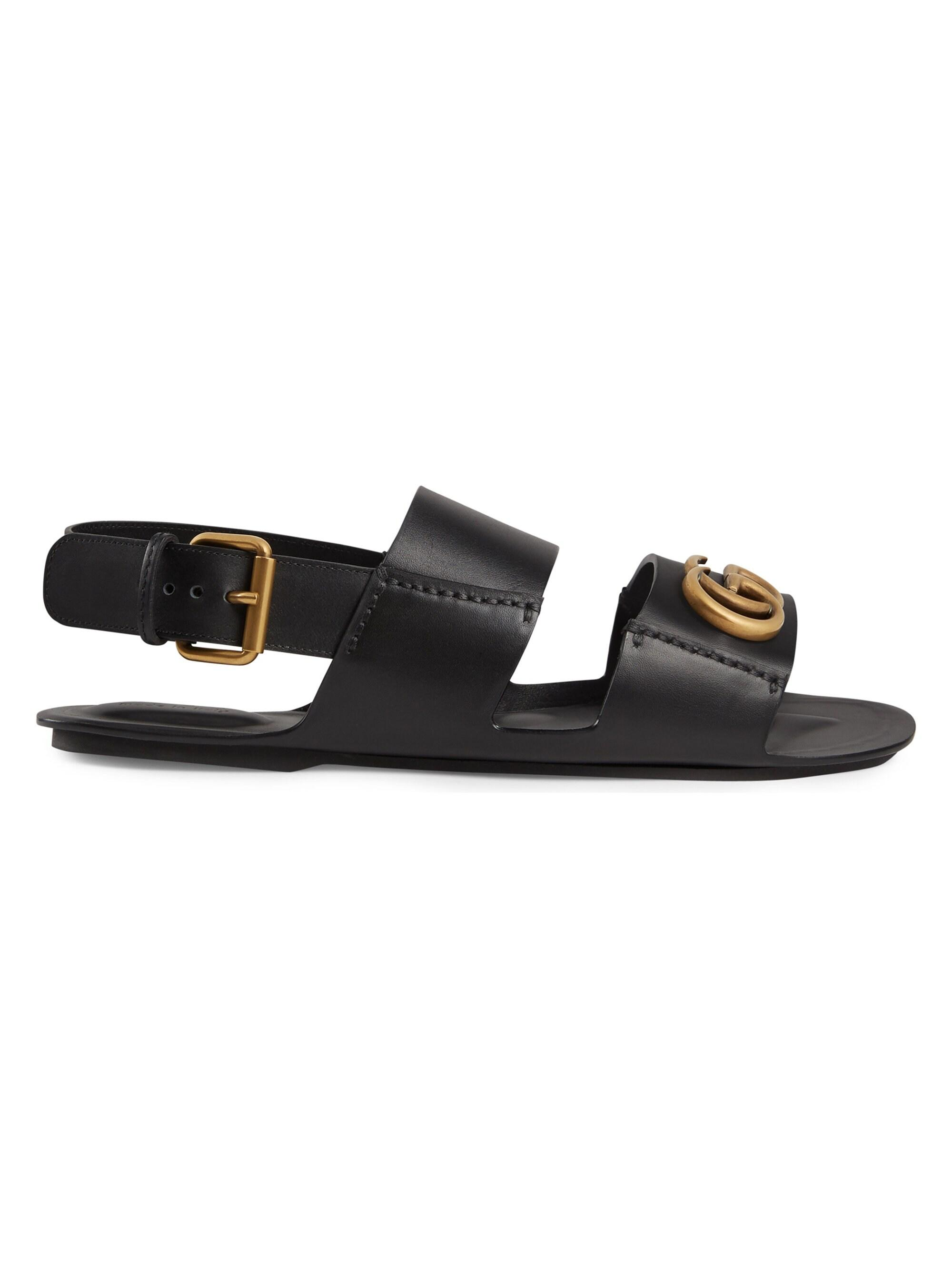 Gucci GG Marmont Leather Sandals in