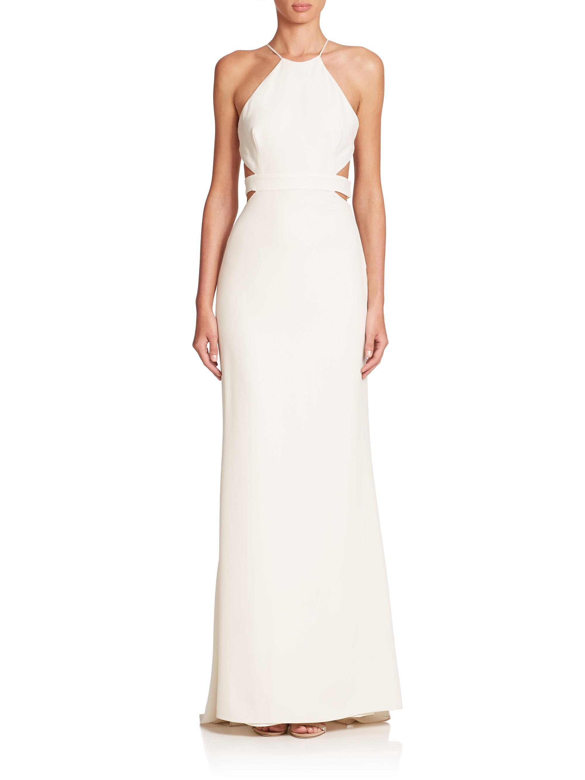 Lyst - Halston Heritage Cutout-back Halter Gown in White