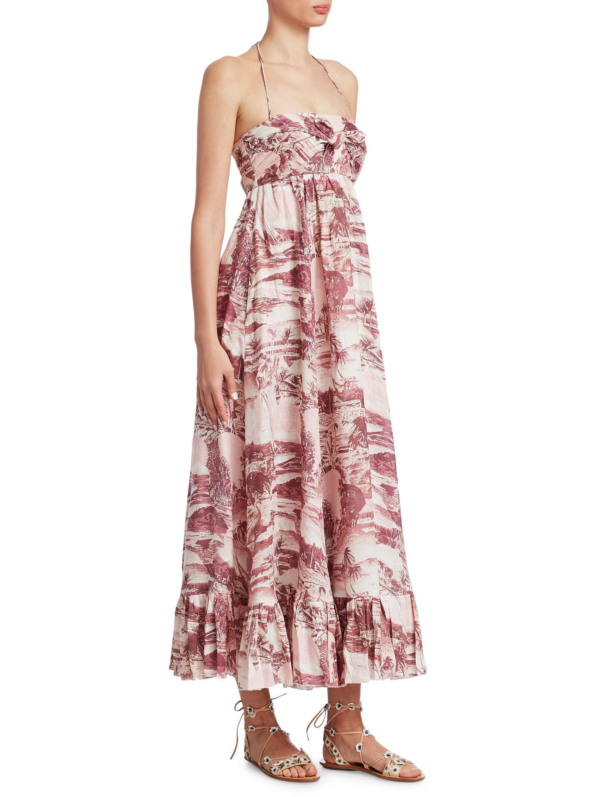 Kali Printed Linen Halterneck Maxi Dress - Brick Zimmermann evMuz0t9G