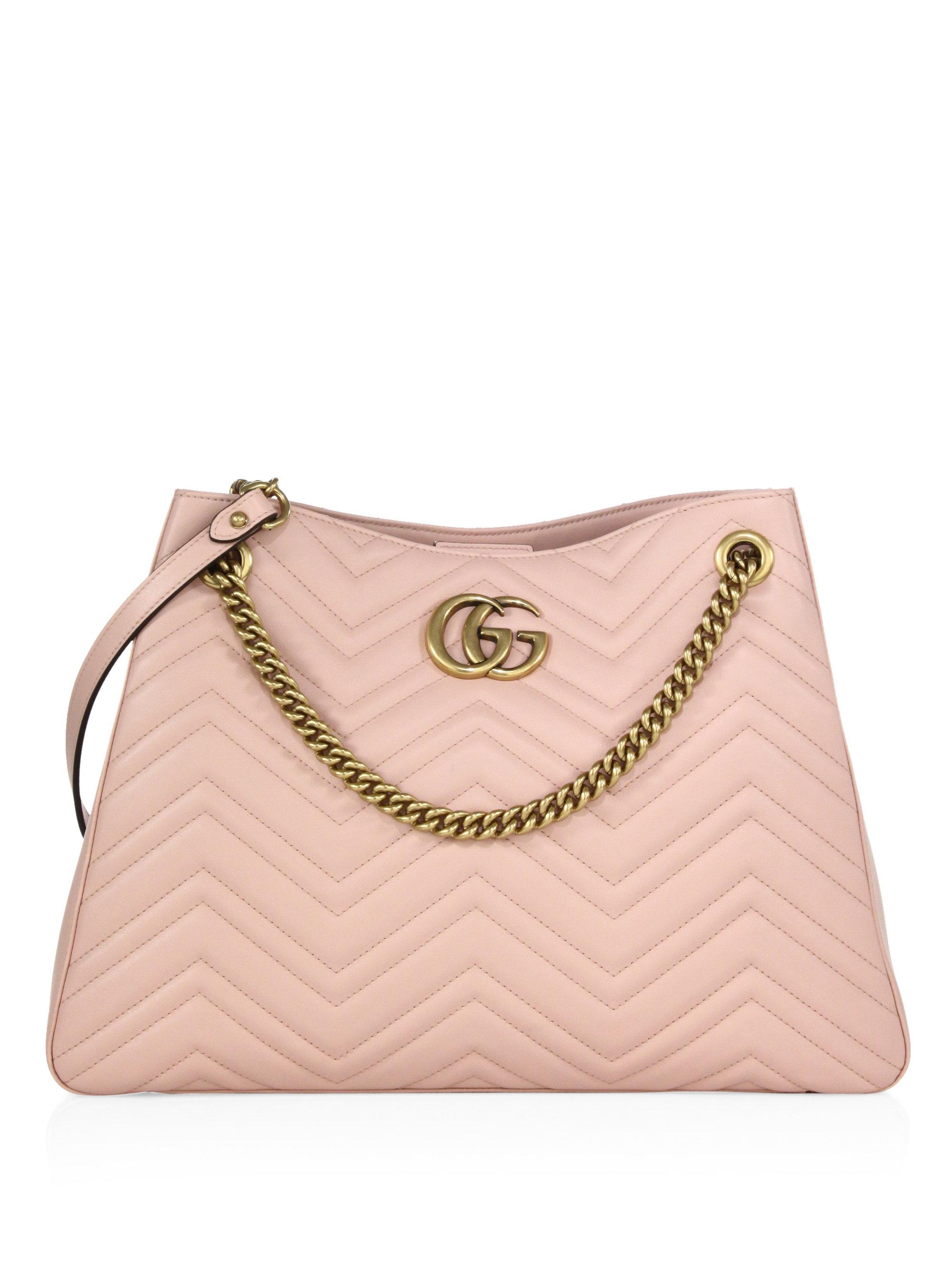 eb767b0cd Gucci Gg Marmont Matelasse Leather Shoulder Bag in Pink - Lyst
