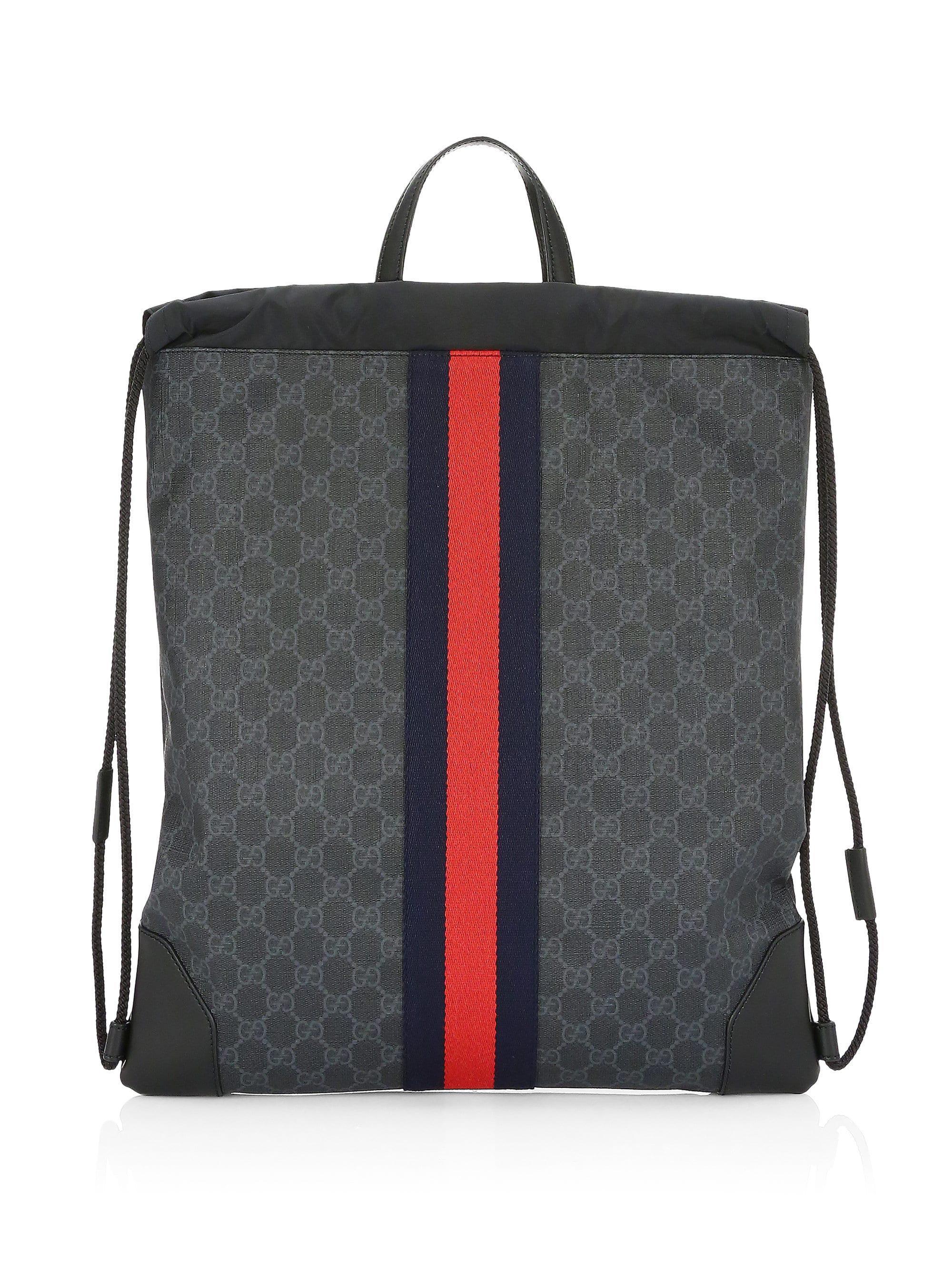 Lyst - Gucci GG Signature Web Drawstring Backpack in Black for Men 022649ec8ccf9