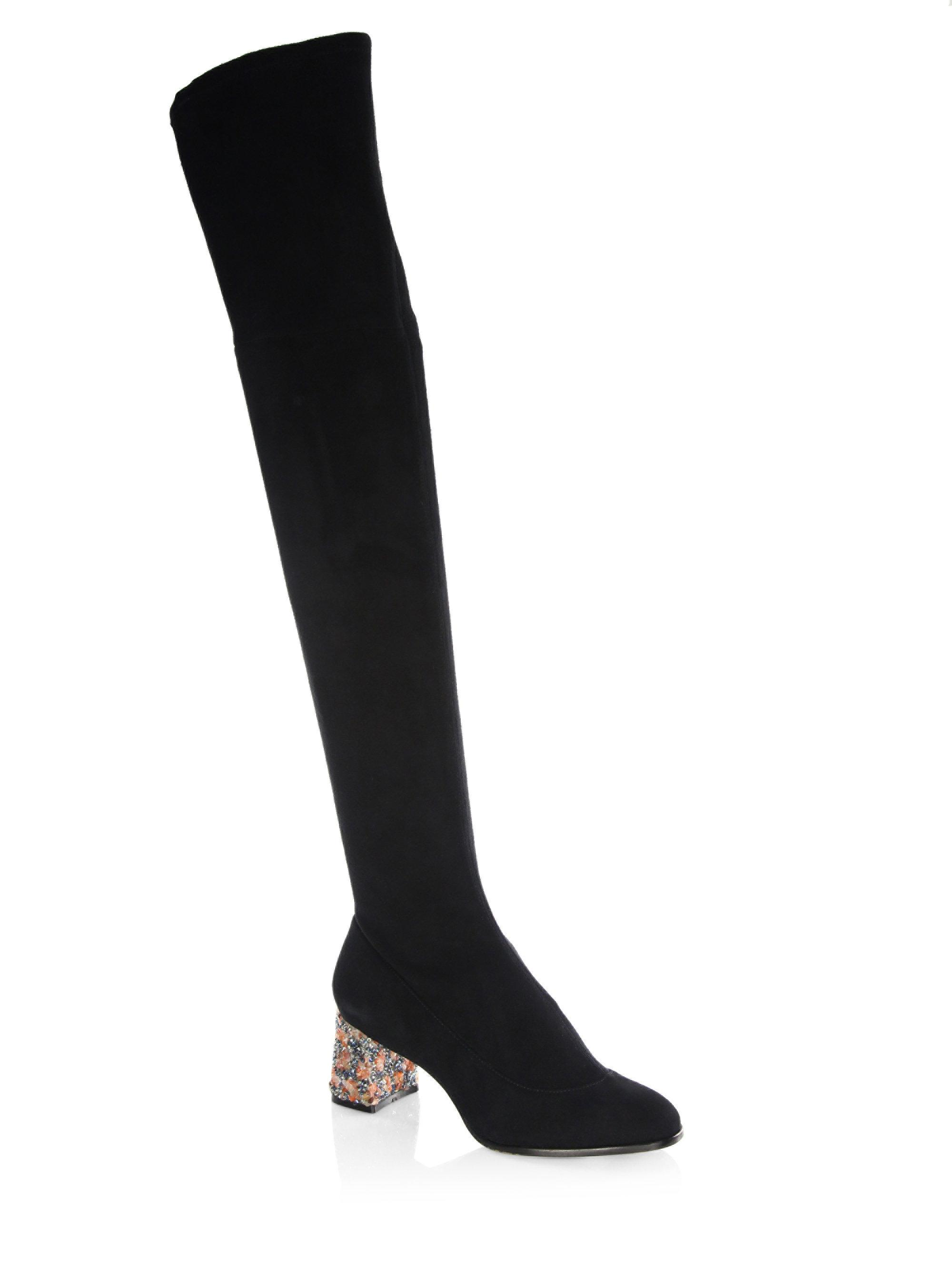 82b6f64a21b Lyst - Sophia Webster Suranne Over-the-knee Stretch Suede Boots in Black