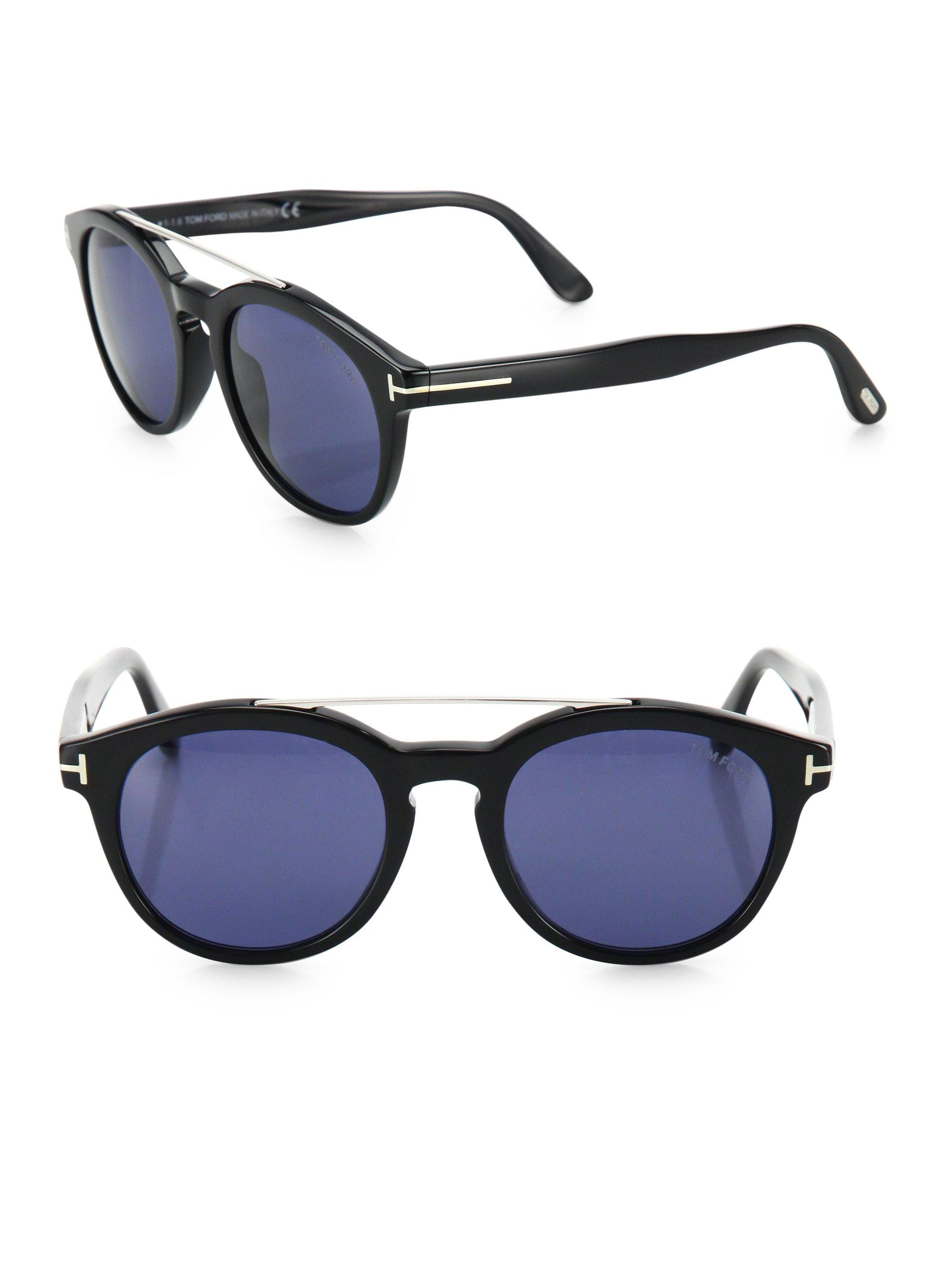 a62eabeaf913 Tom Ford Newman 53mm Round Sunglasses in Blue for Men - Lyst