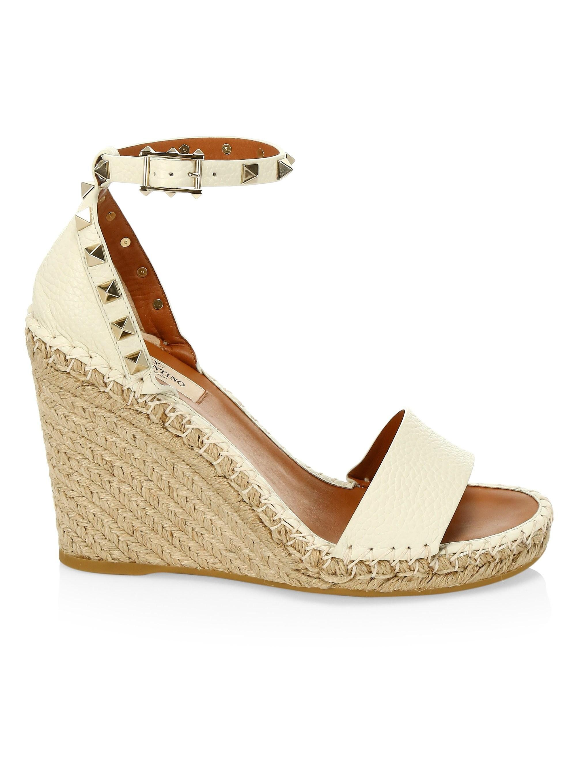 94fd54211a7 Women's White Rockstud Leather Espadrille Wedge Sandals