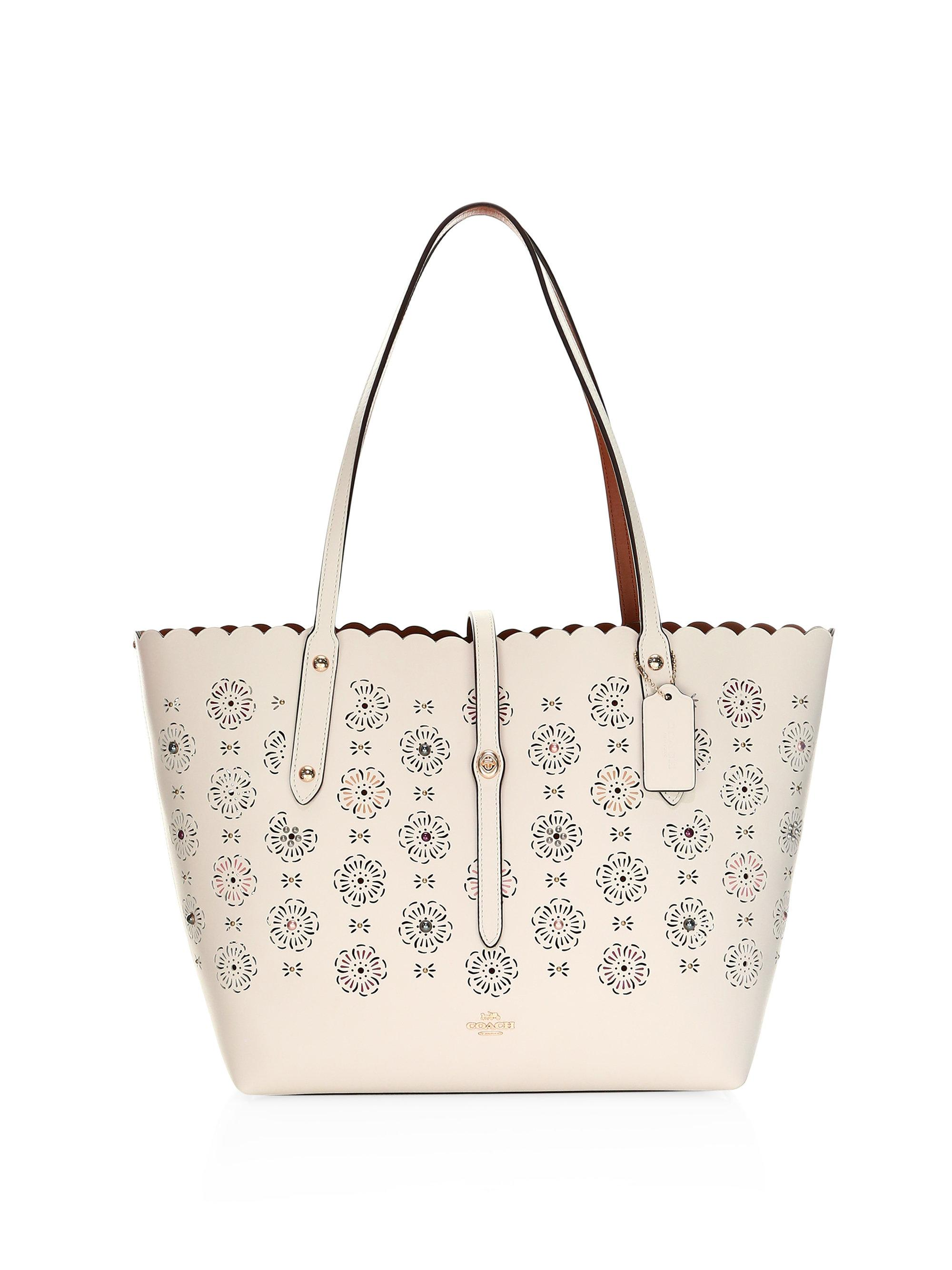 7d6b51e66bc ... where can i buy coach cut out tea rose market tote save  34.98542274052478 lyst 4c4ec a0647 ...