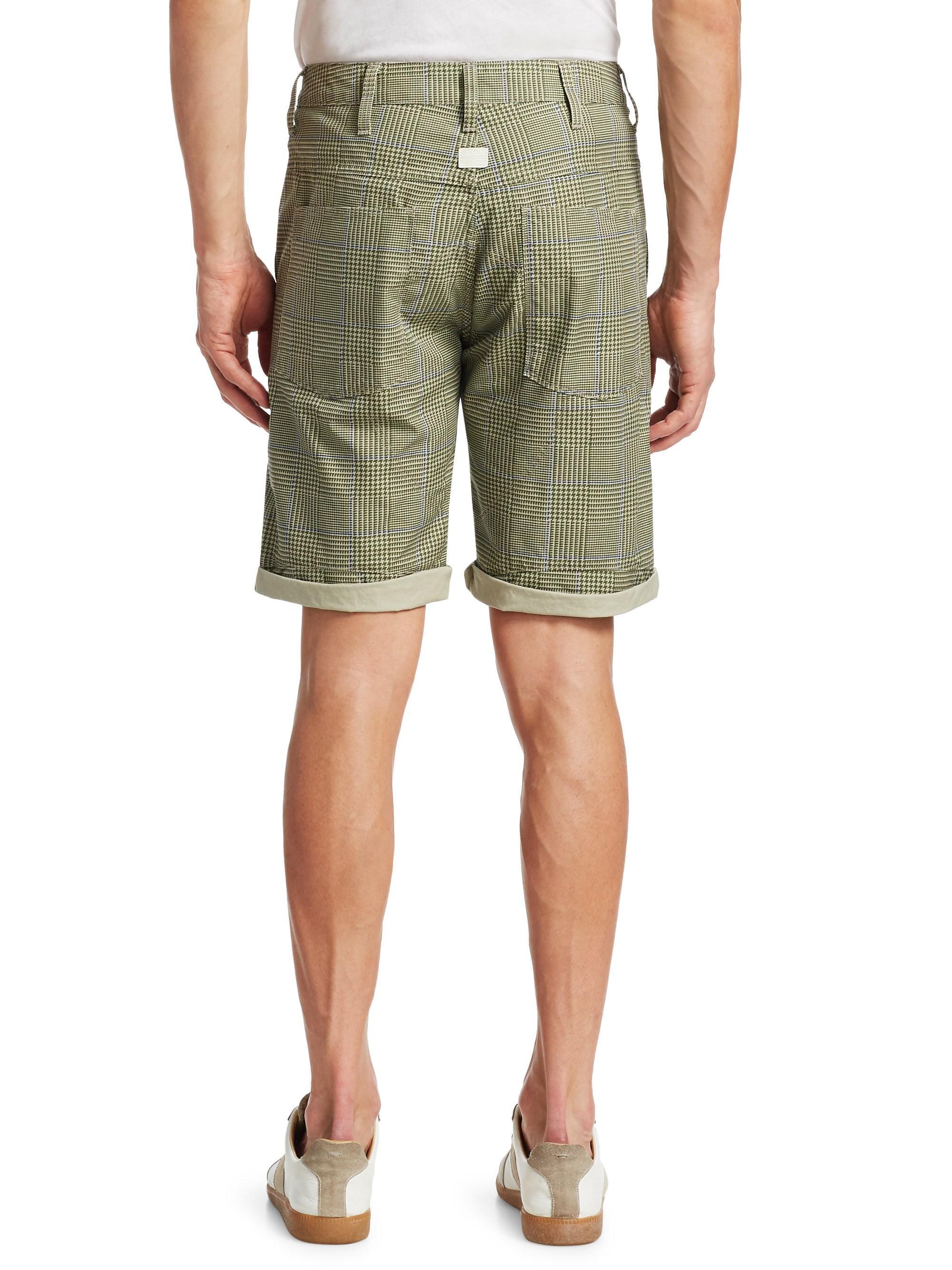 2eae0c07ddde0 Lyst - G-Star RAW Elwood 5622 Cotton Check Shorts in Green for Men