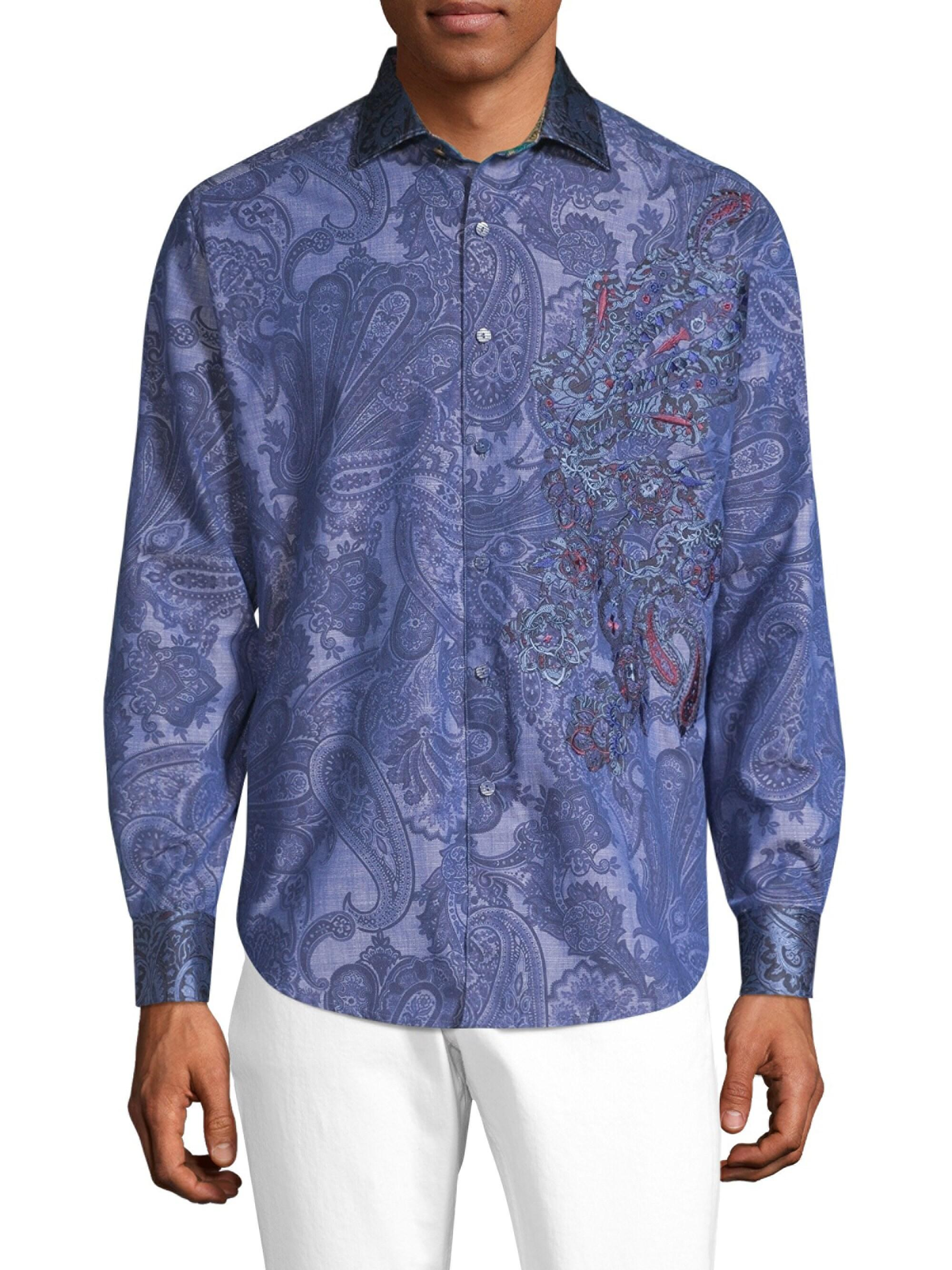 Robert Graham Patrick Floral Printed Short Sleeve Sport Shirt Tailored Fit