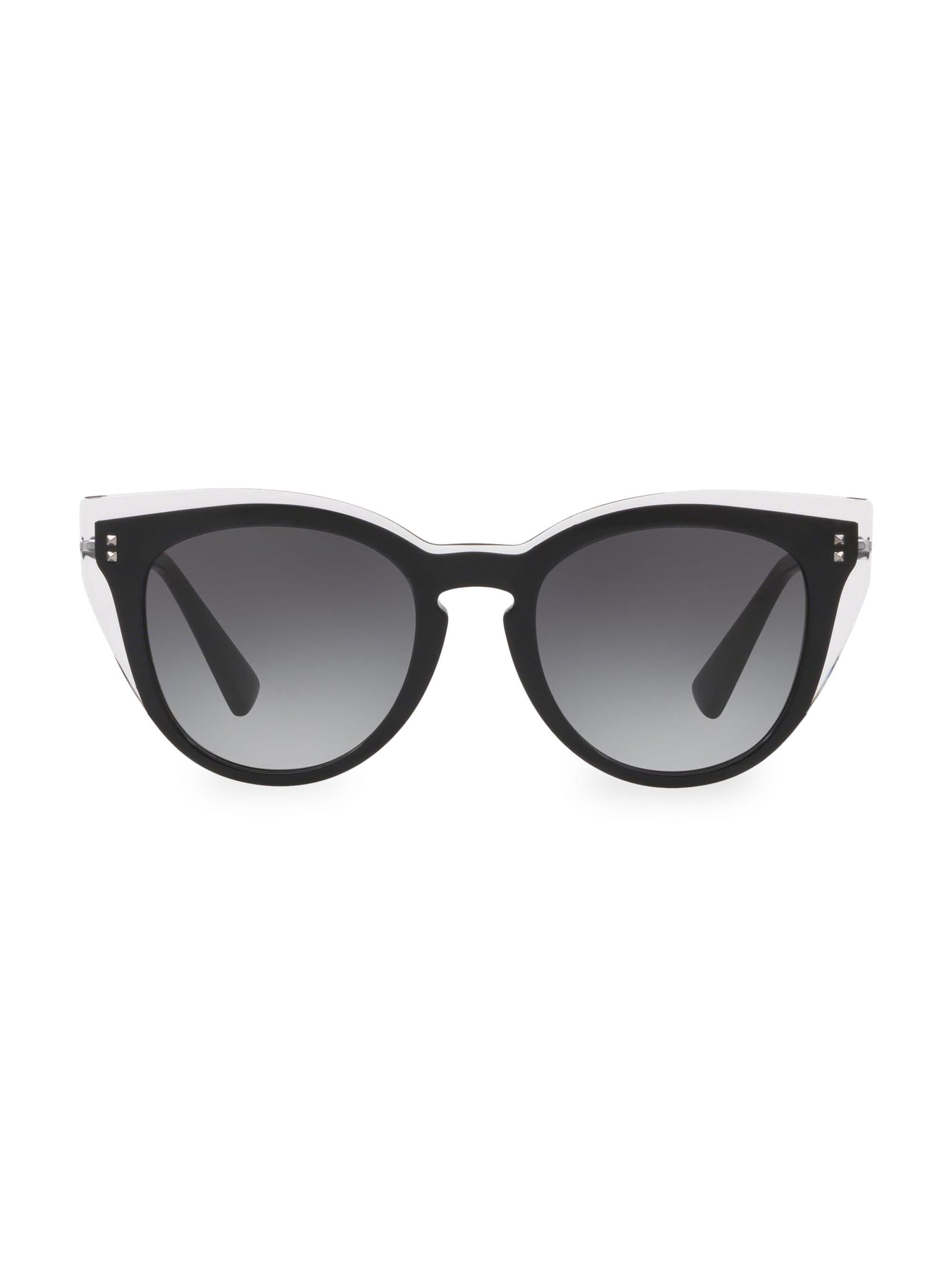 e137262faba Valentino 50mm Cat Eye Sunglasses in Black - Lyst