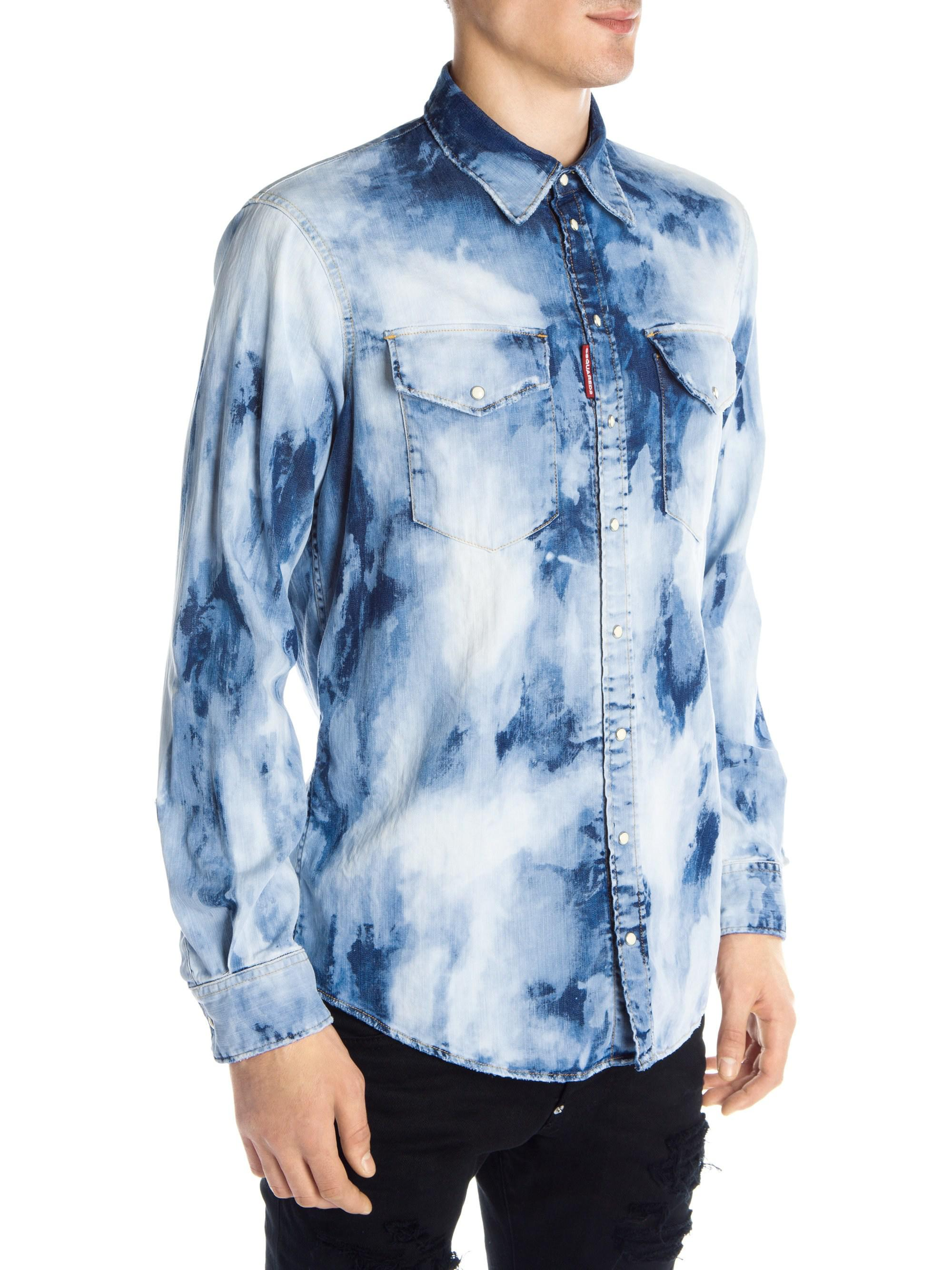 3120a162de9 Lyst - Dsquared² Denim Bleached Shirt in Blue for Men