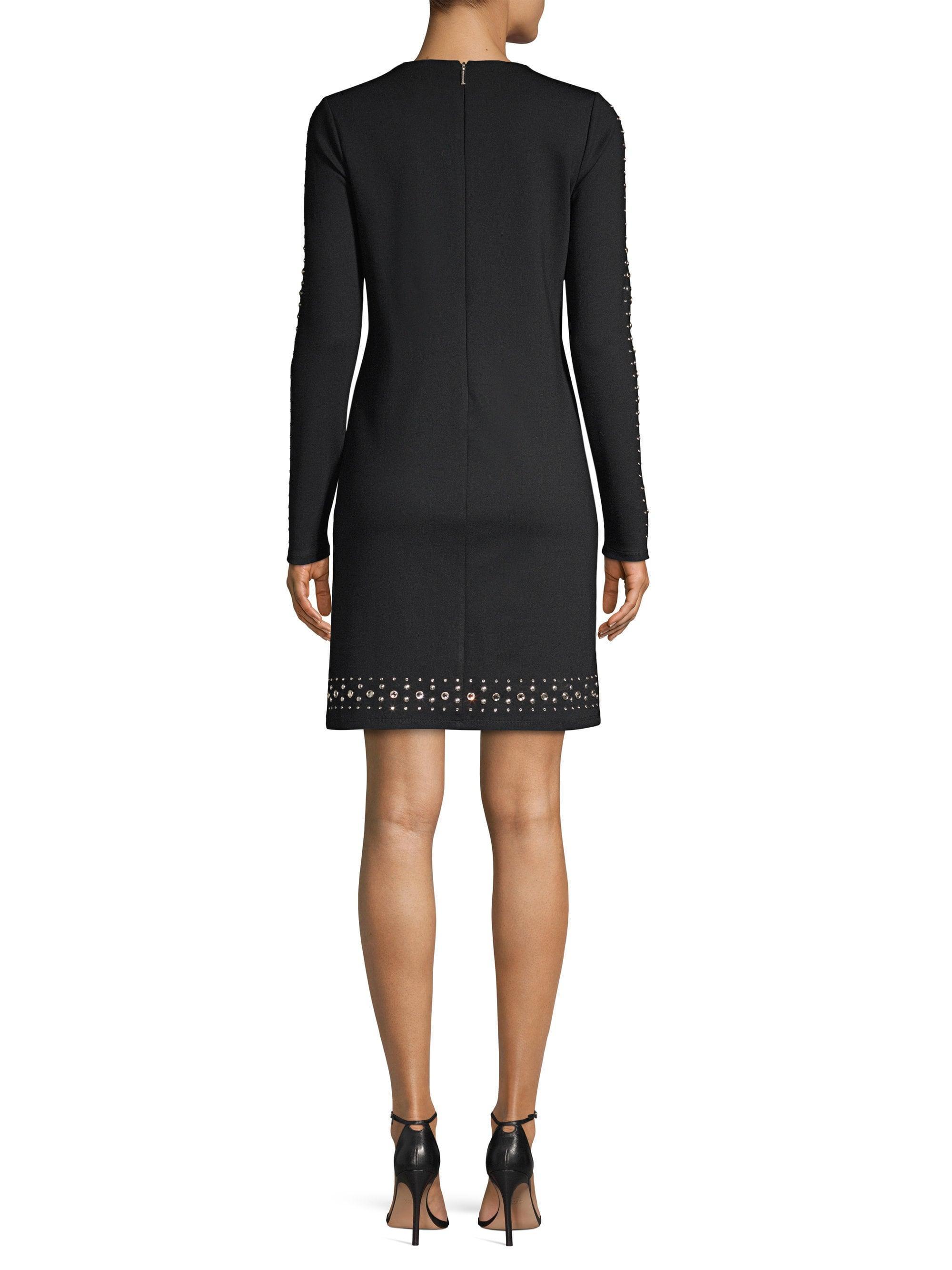 7856d7f36f43 Lyst - MICHAEL Michael Kors Women s Embellished Solid Ponte Shift Dress -  Black - Size Xs in Black