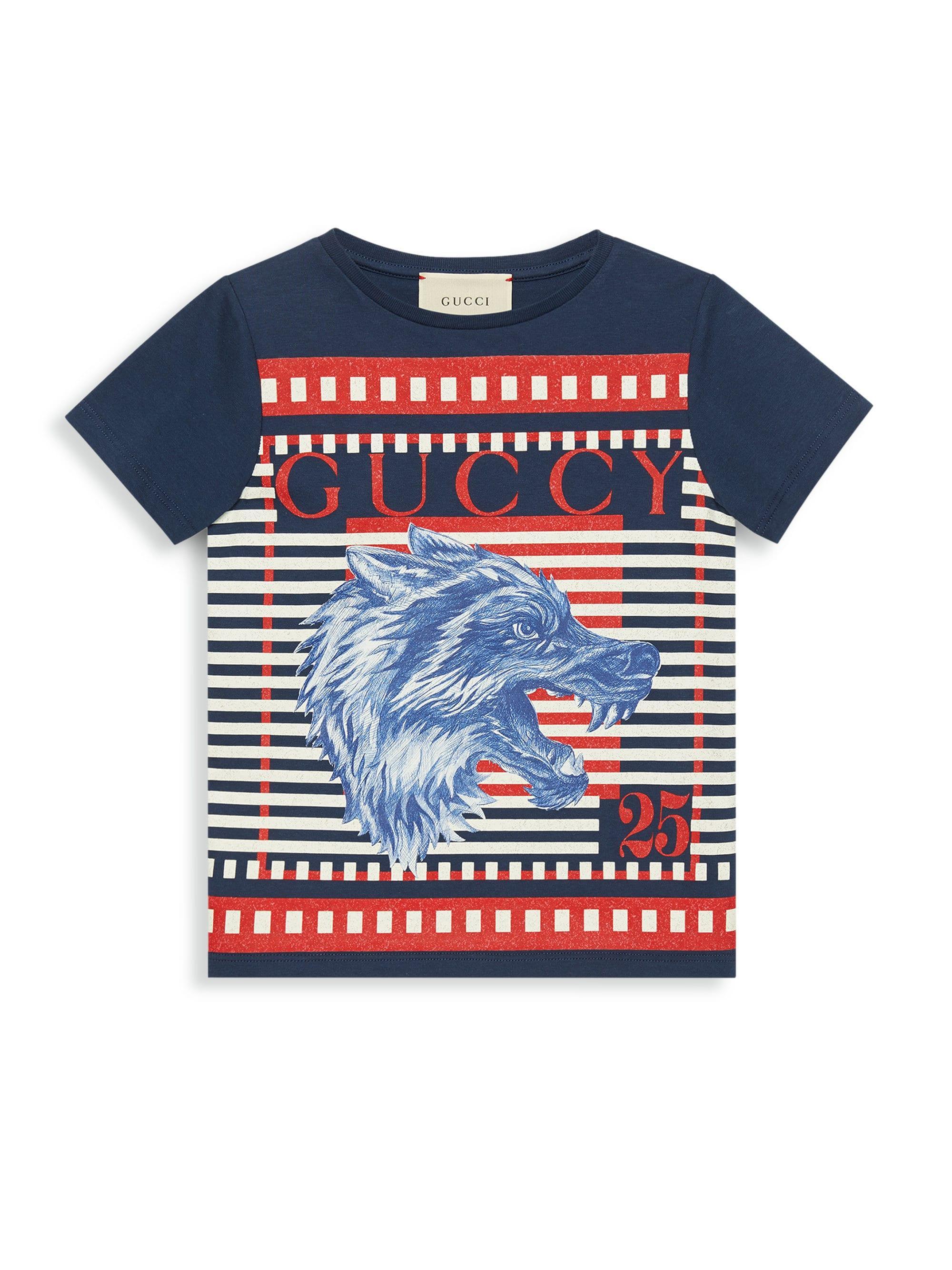99d4d773339 Lyst - Gucci Little Boy s   Boy s Half Stripe Tee in Blue for Men