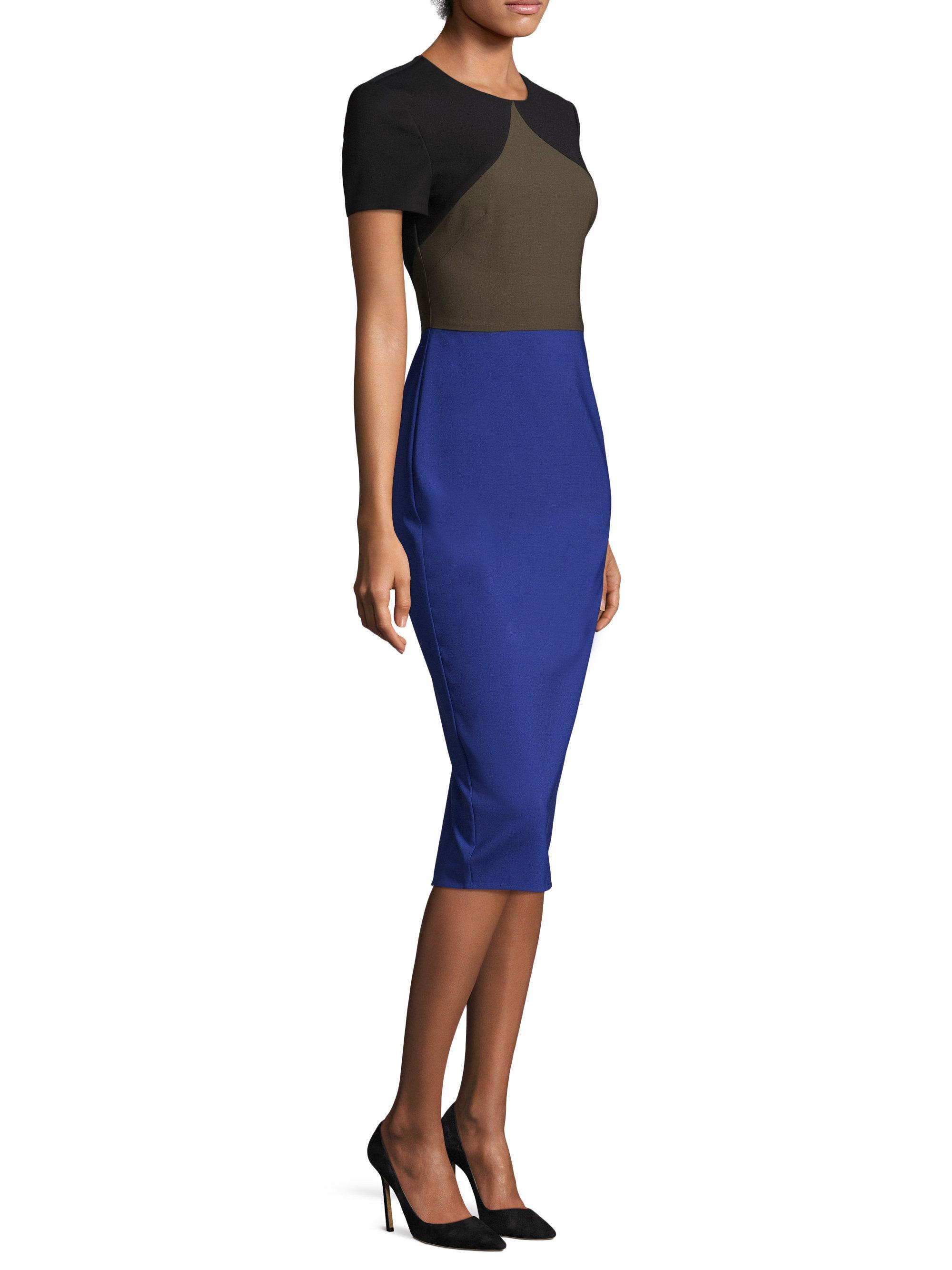 Diane Von Furstenberg Wool Short Sleeve Tailored Midi