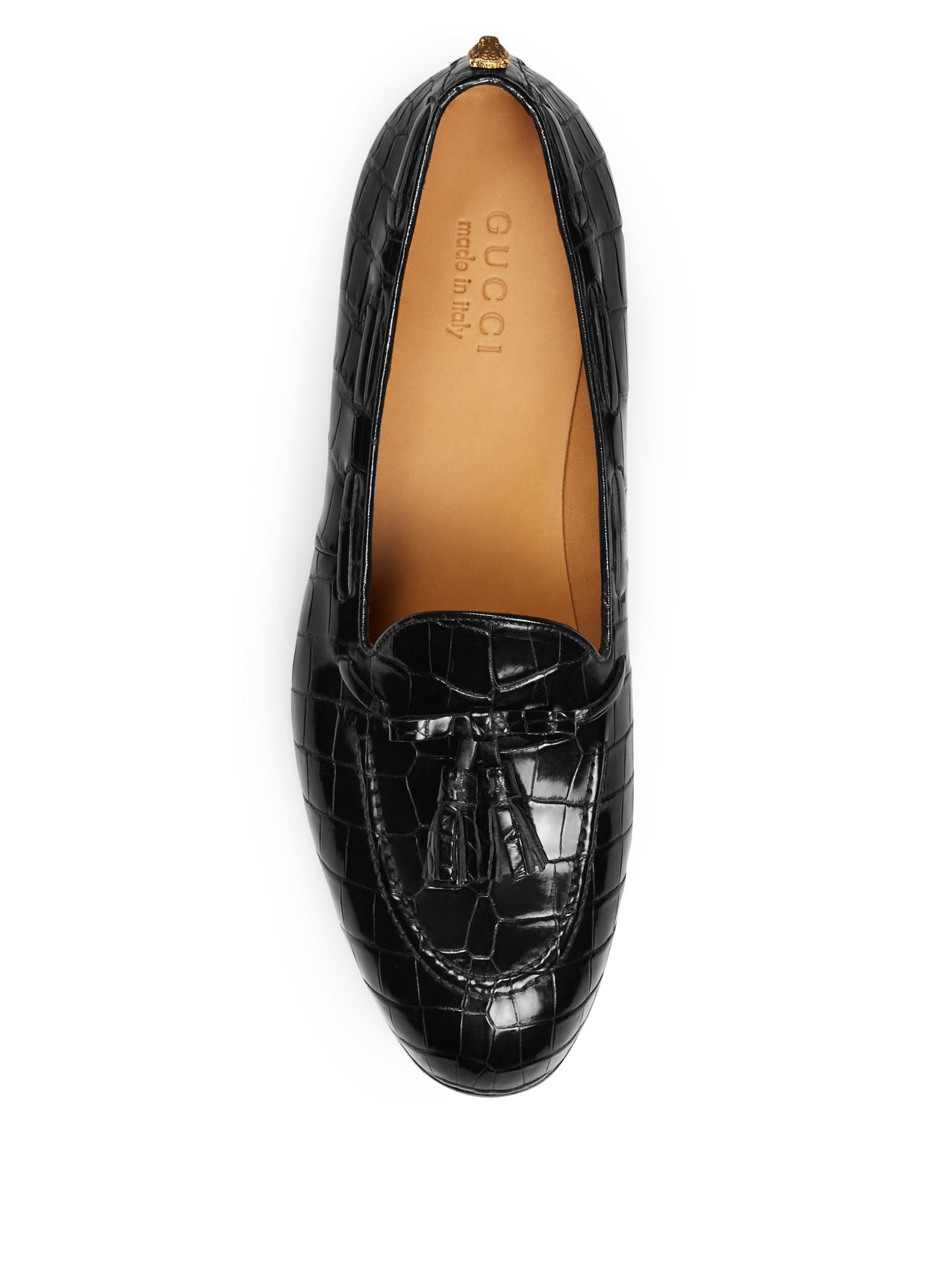 189a69efebf Gucci Men's Crocodile Tassel Loafers - Black - Size 9.5 Uk (10.5 Us) in  Black for Men - Lyst