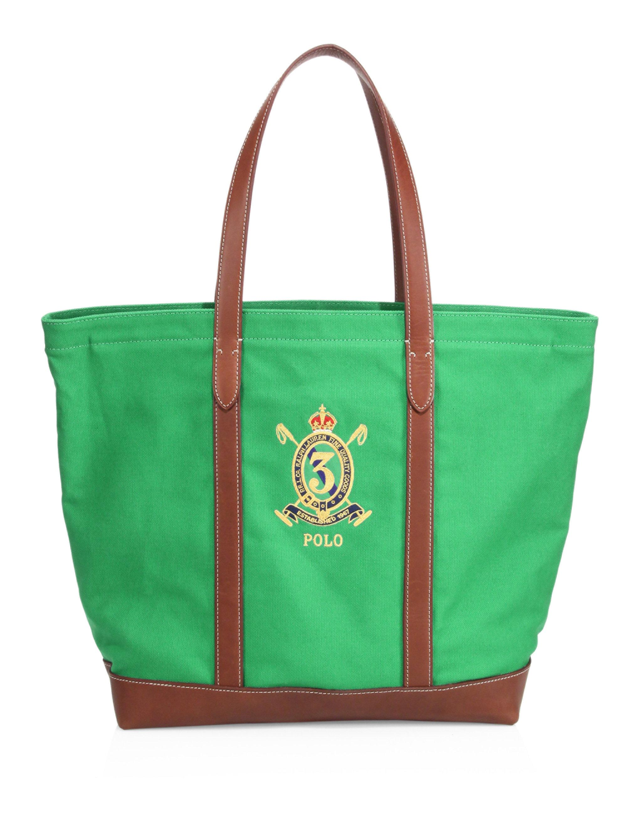 Lyst - Polo Ralph Lauren Crest Canvas Tote in Green for Men 94ee56a21a086