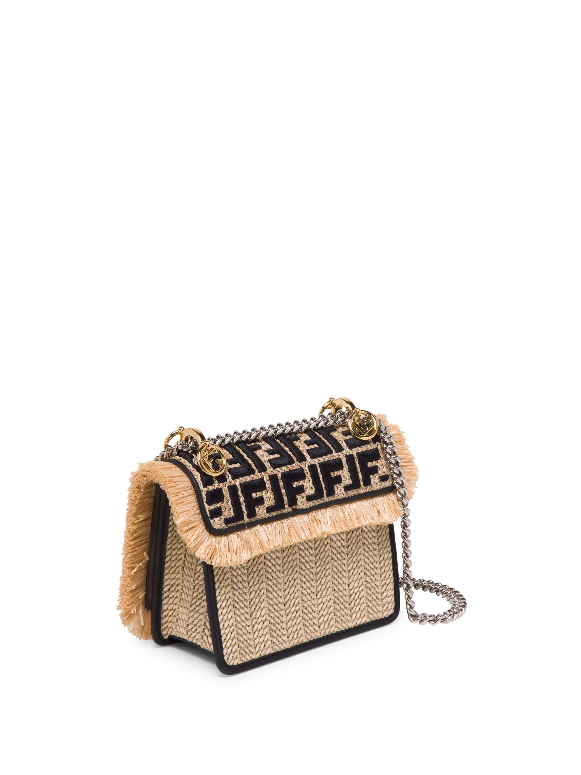43255813e24b ... promo code for lyst fendi small kan i chain strap raffia bag in black  39415 06972 ...