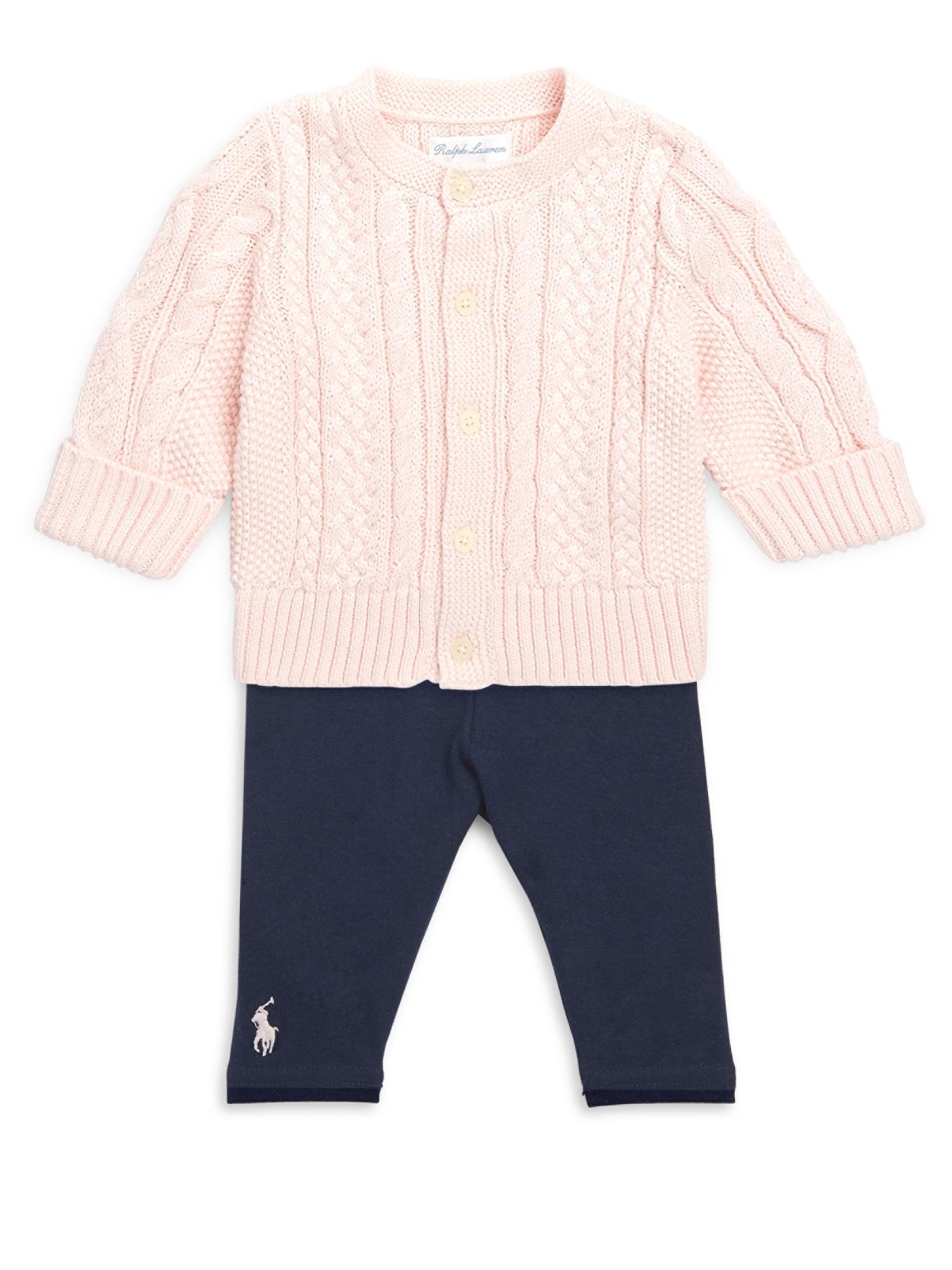 85678db10 Lyst - Ralph Lauren Baby Girl s Aran-knit Cardigan in Pink