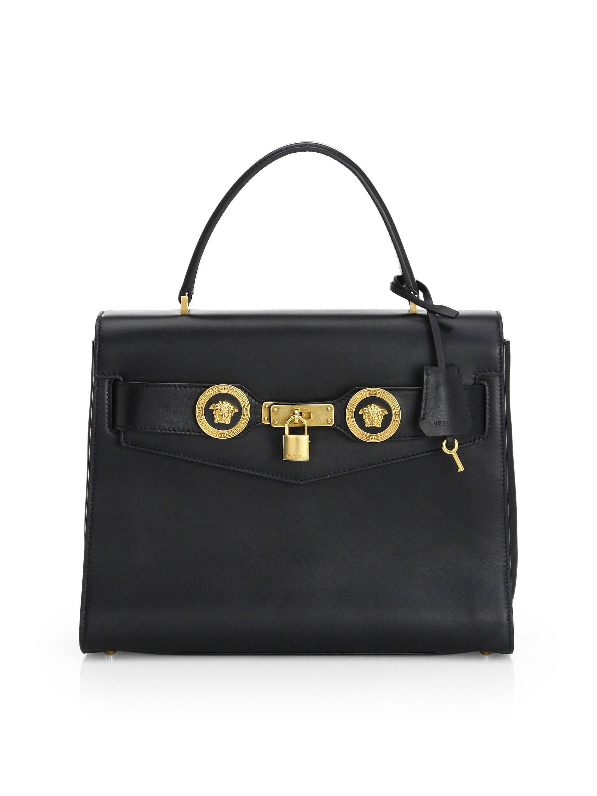 5eeafd85e2f3 Versace - Women s Icon Leather Satchel Bag - Black Gold - Lyst. View  fullscreen