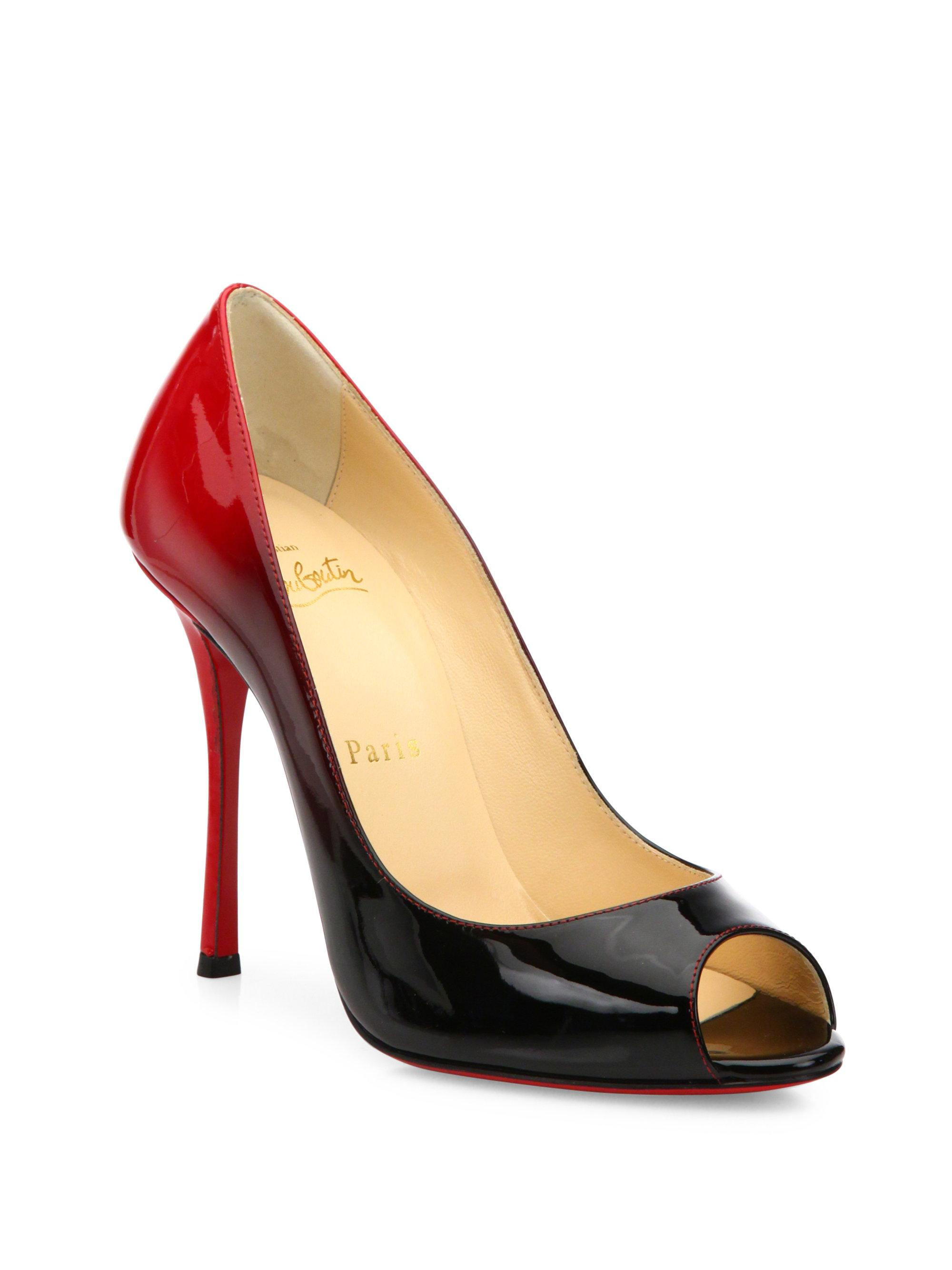 6f9814e5dc4 Christian Louboutin Black Yootish 100 Ombre Patent Leather Peep Toe Pumps