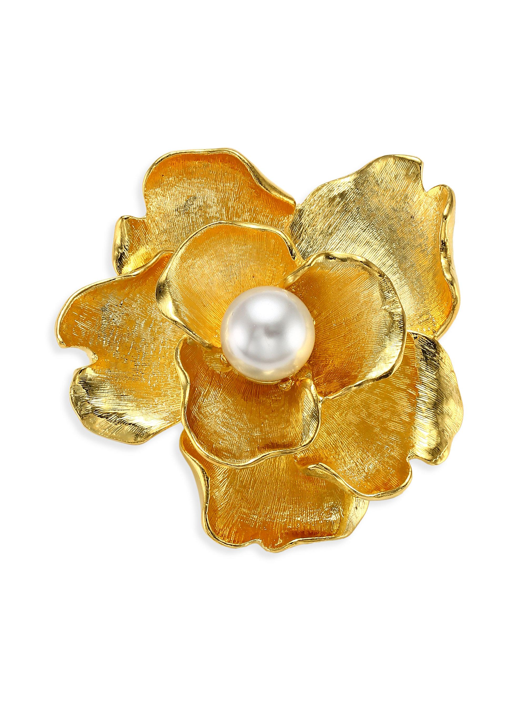 Kenneth Jay Lane Gold And Pearl Flower Pin Gold/pearl fTxCw0v