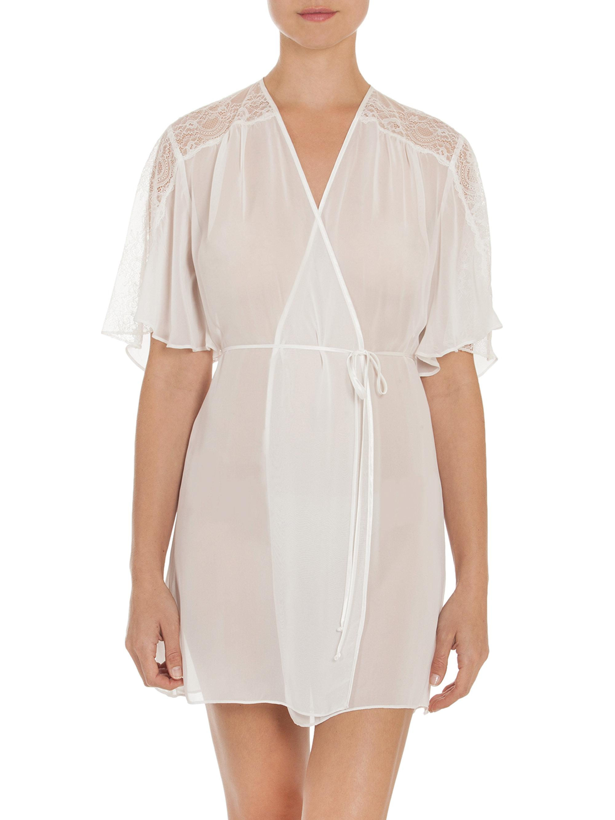 Lyst jonquil chiffon wrap robe in white for Saks 5th avenue robes de mariage