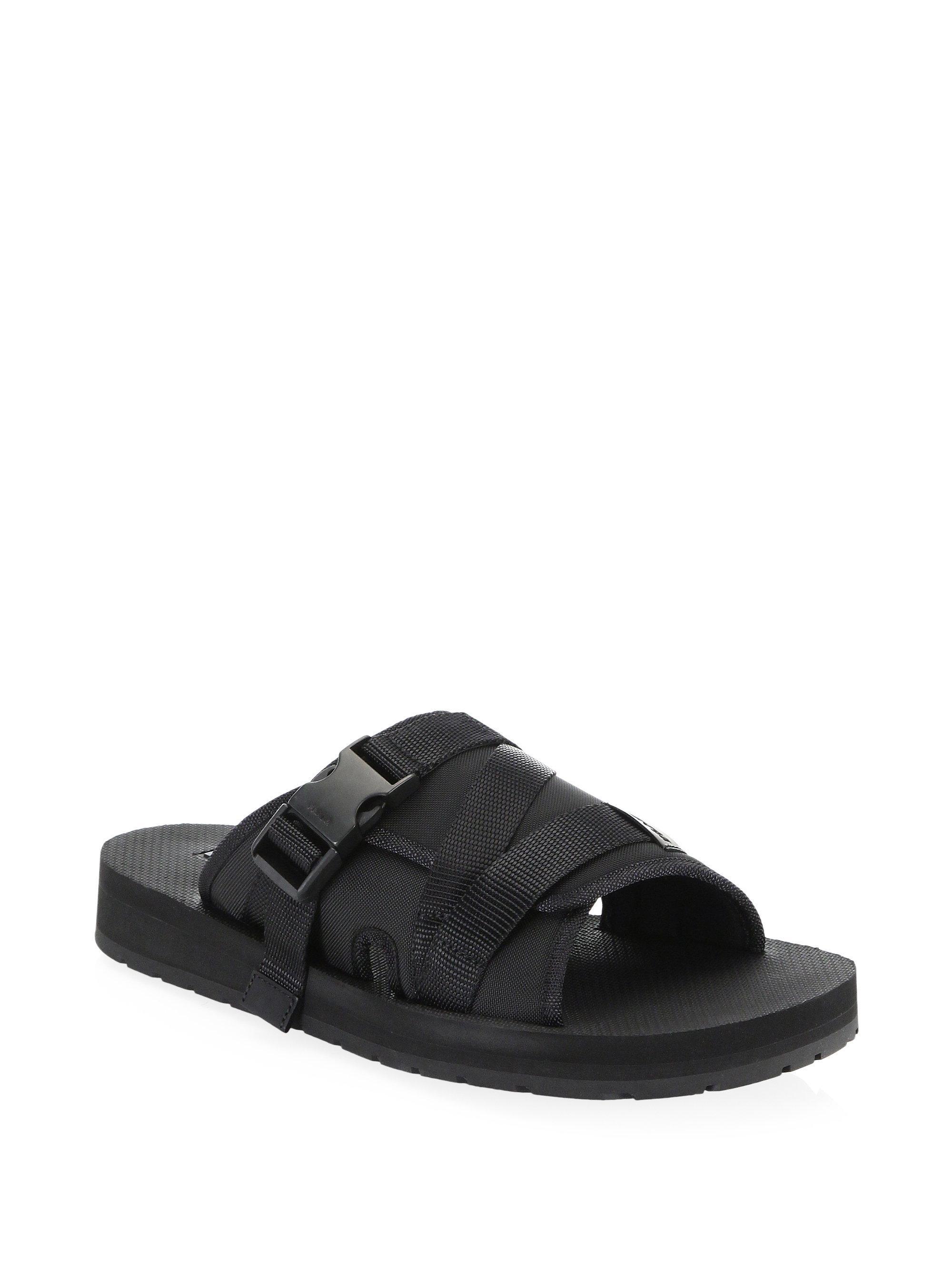 77ab7ac65296 Prada Men s Buckle Wrap Slides - Black - Size 6 Uk (7 Us) Sandals in ...
