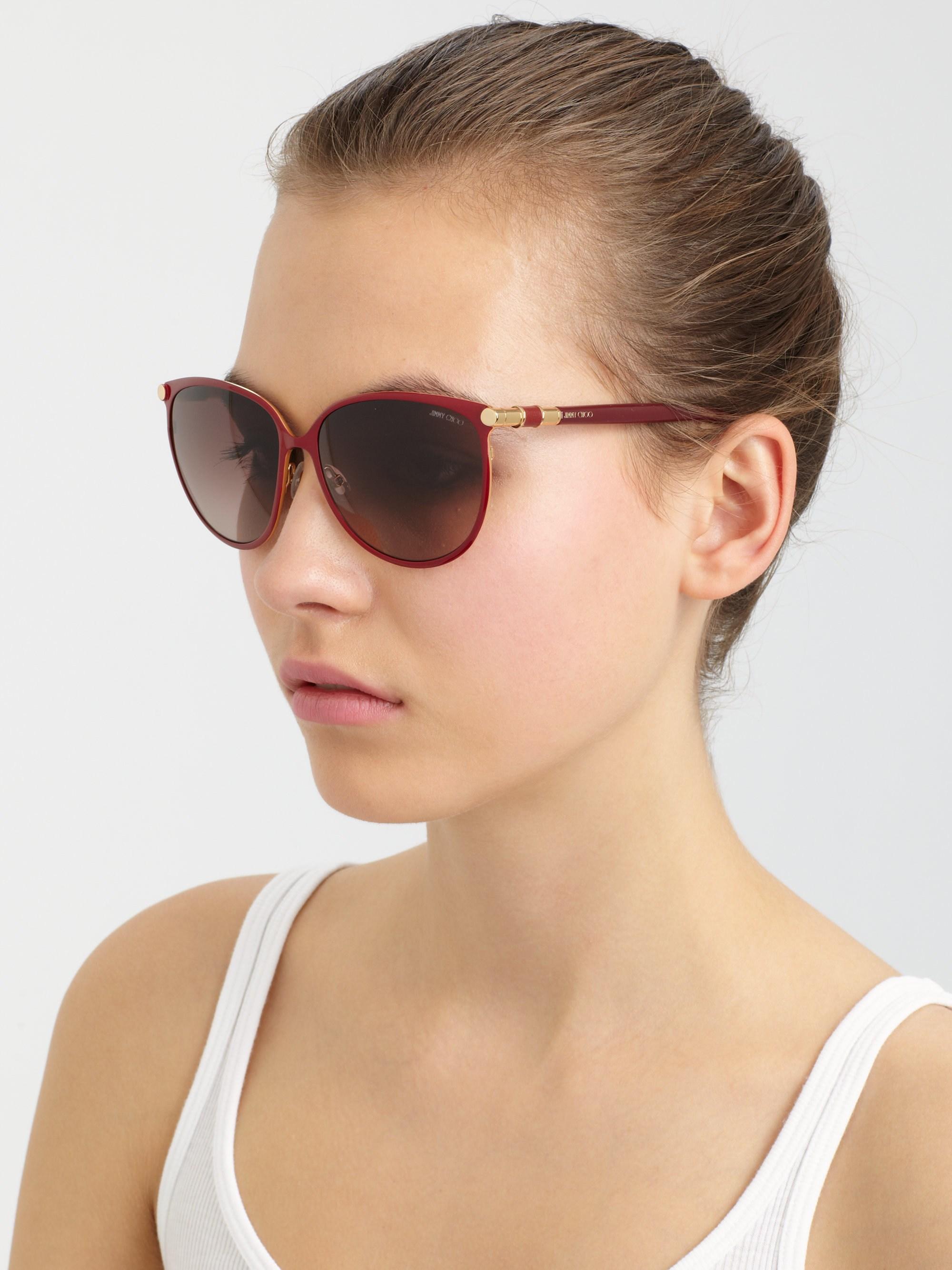 23abea7320 Lyst - Jimmy Choo Juliet Cat s-eye Metal Sunglasses in Red